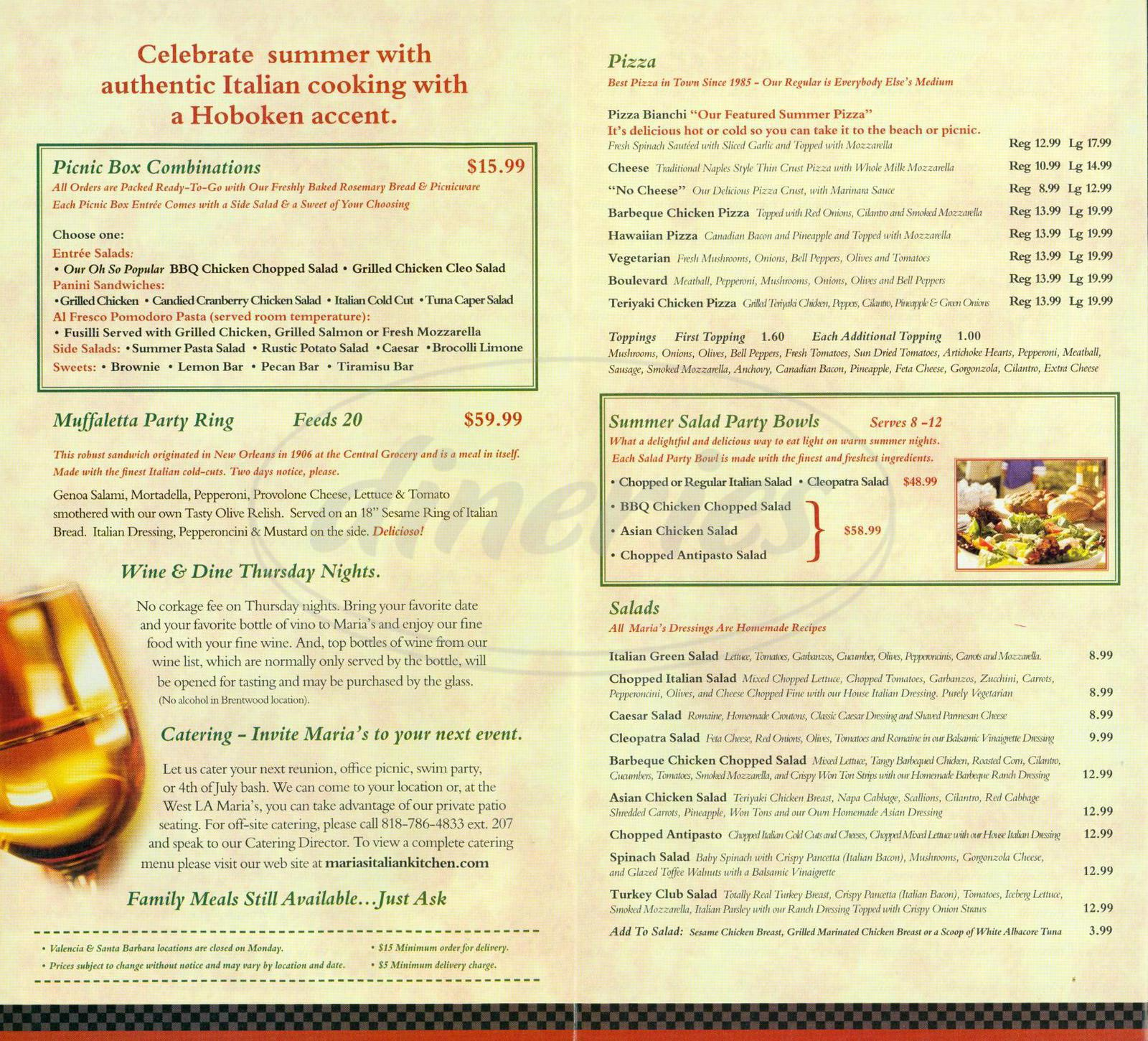 marias italian kitchen menu - agoura hills - dineries
