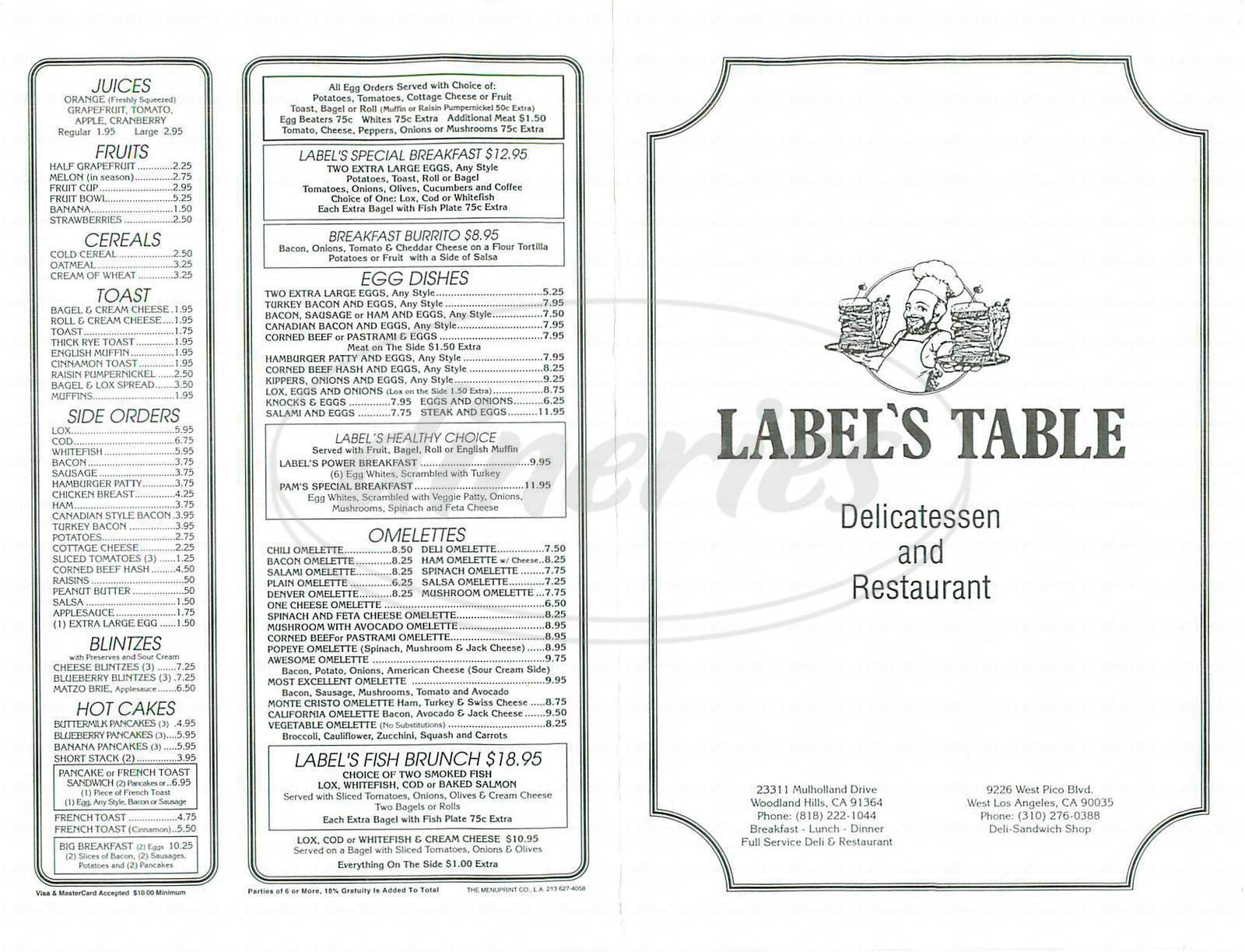 menu for Label's Table