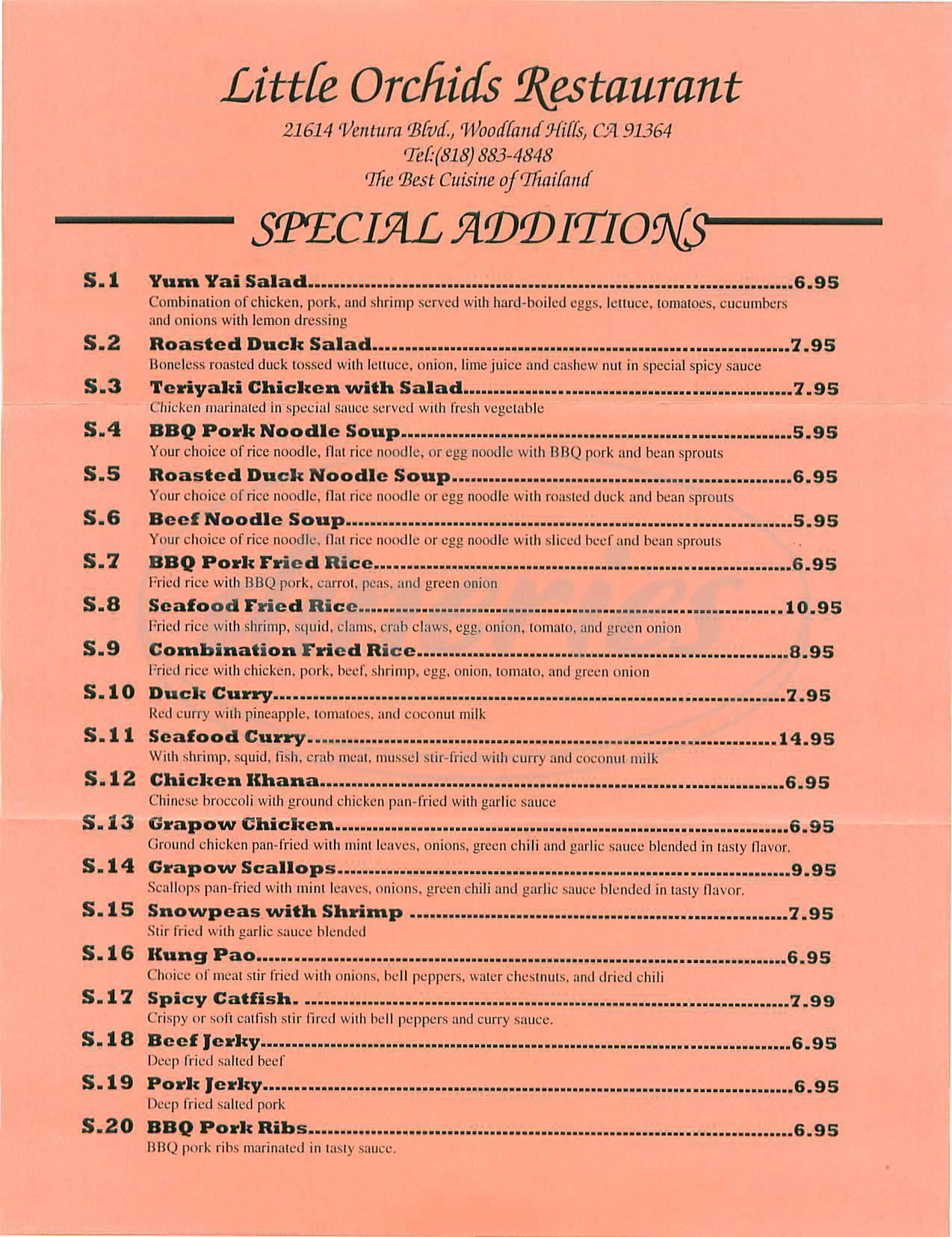 menu for Little Orchids Restaurant