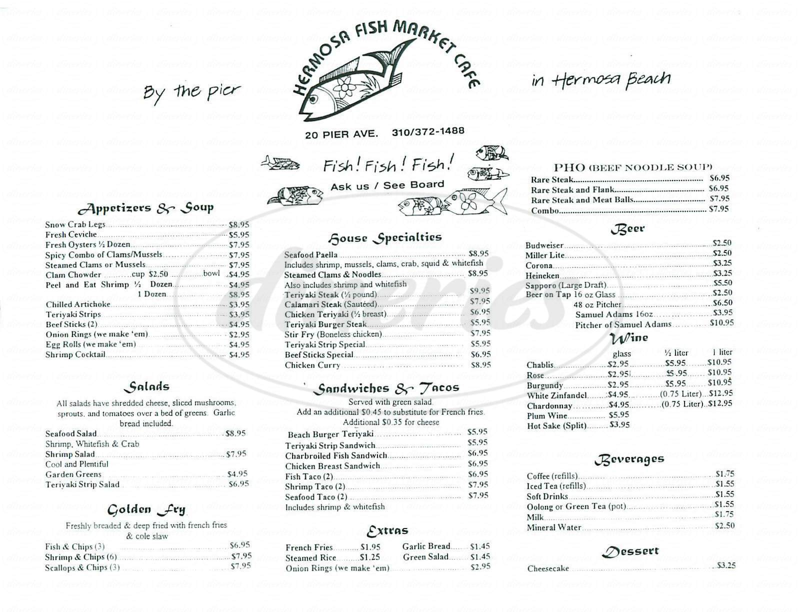 menu for Hermosa Fishmarket Café