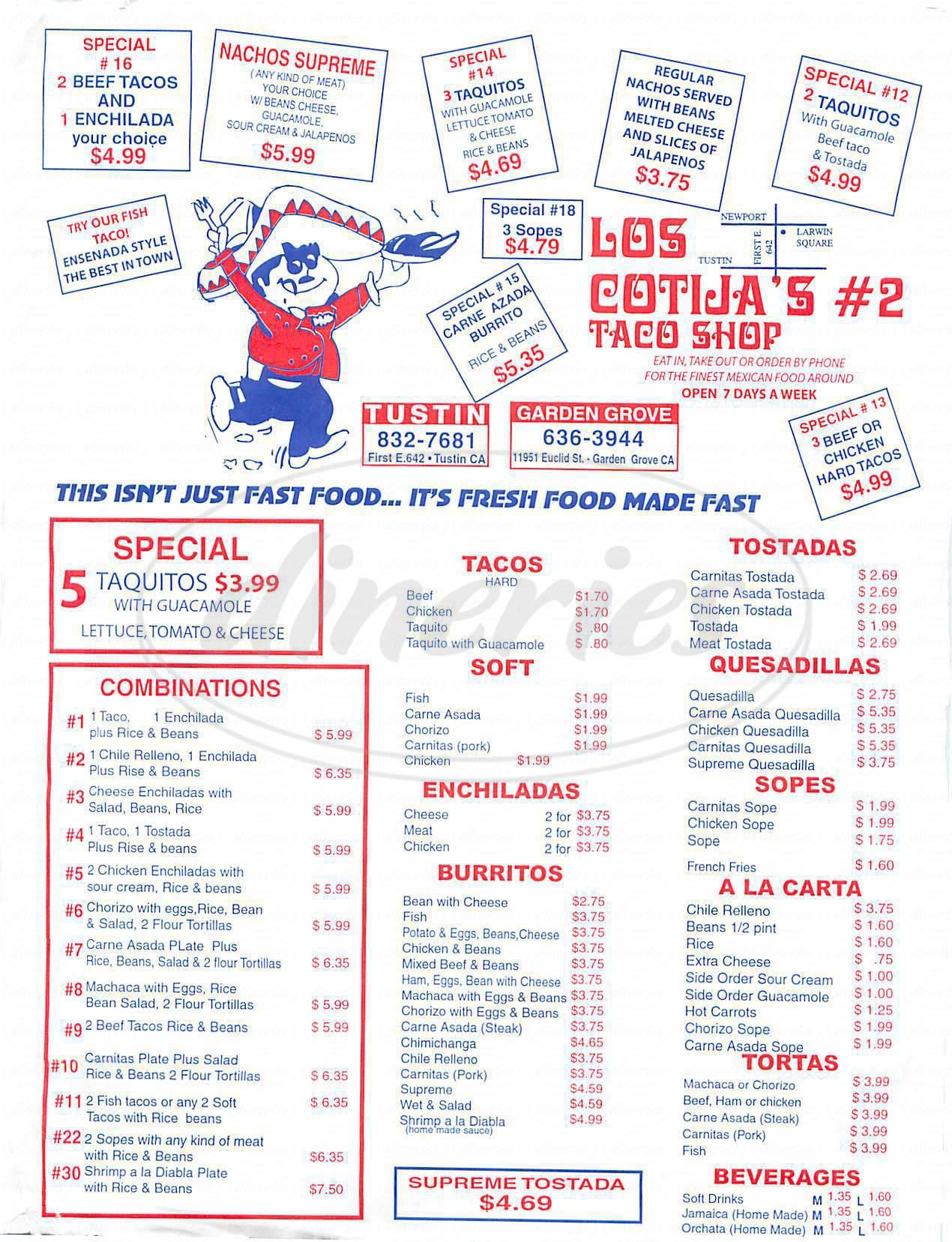 menu for Los Cotija's Taco Shop