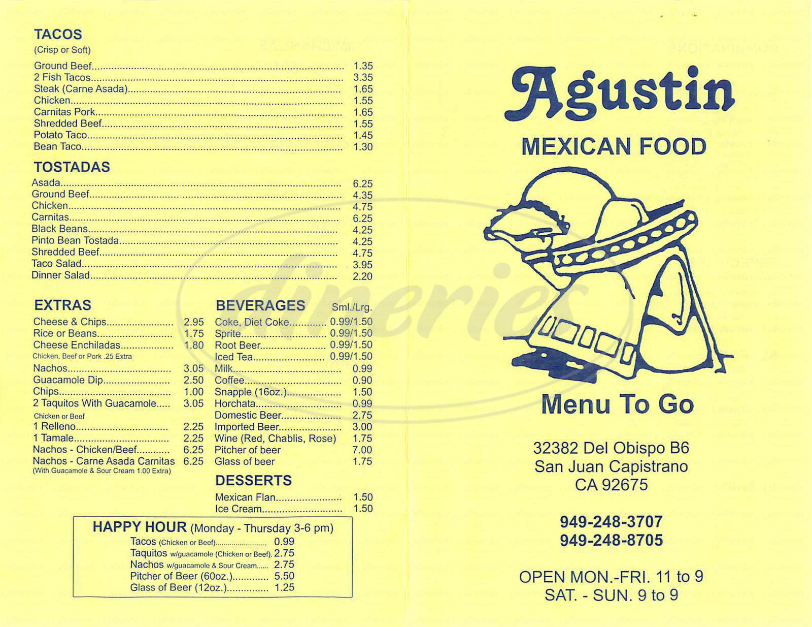 menu for Agustin Mexican Food