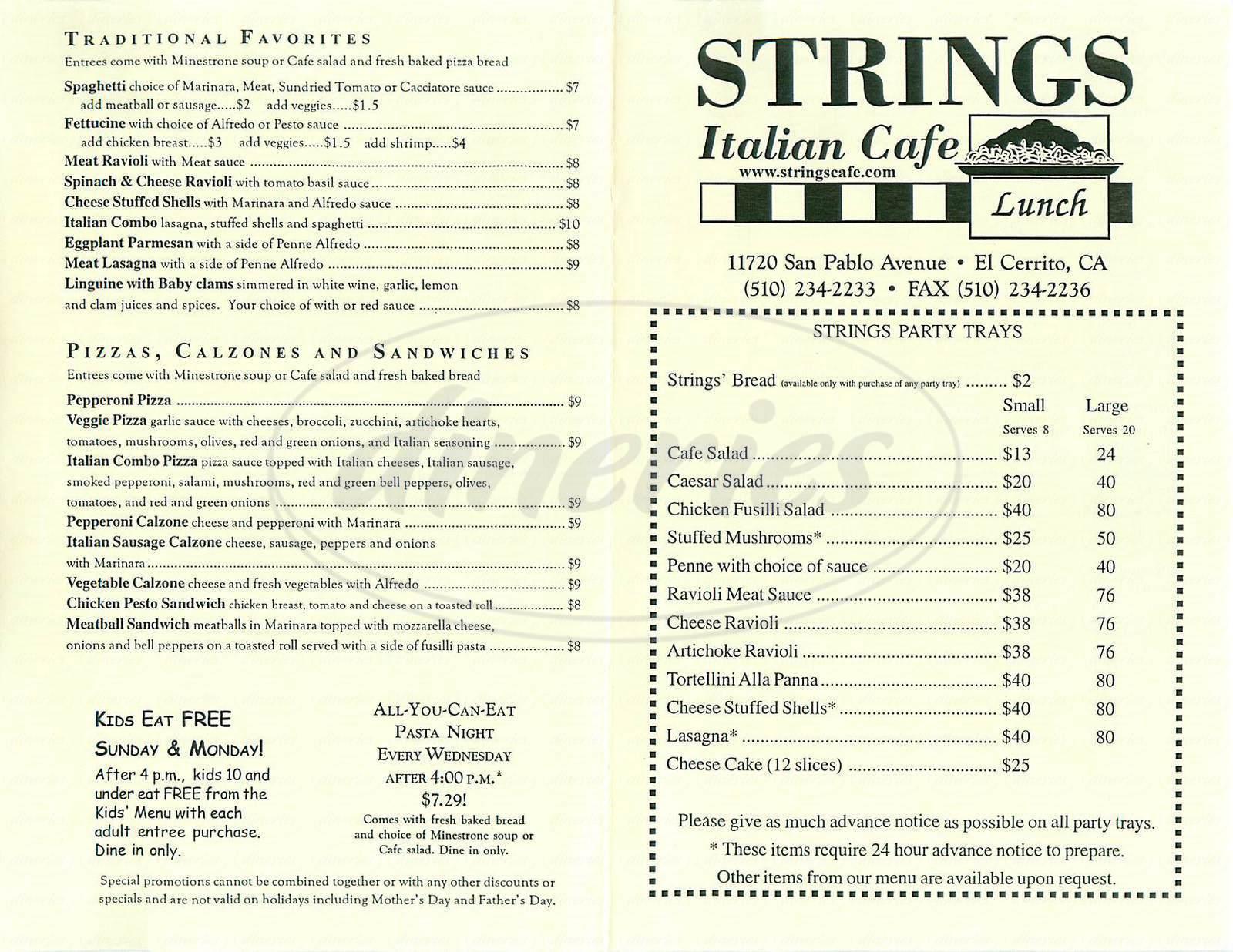 menu for Strings Italian Café