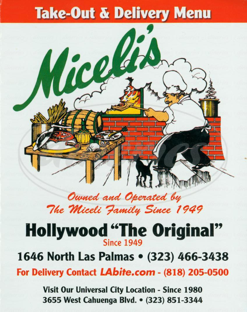 menu for Miceli's Italian Restaurant