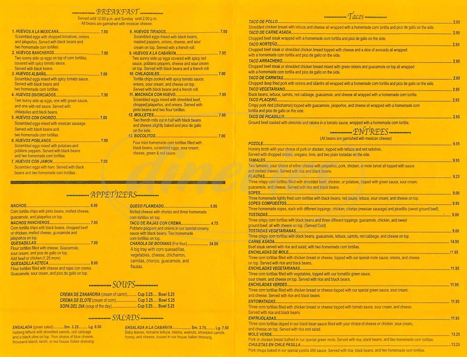 menu for La Cabanita