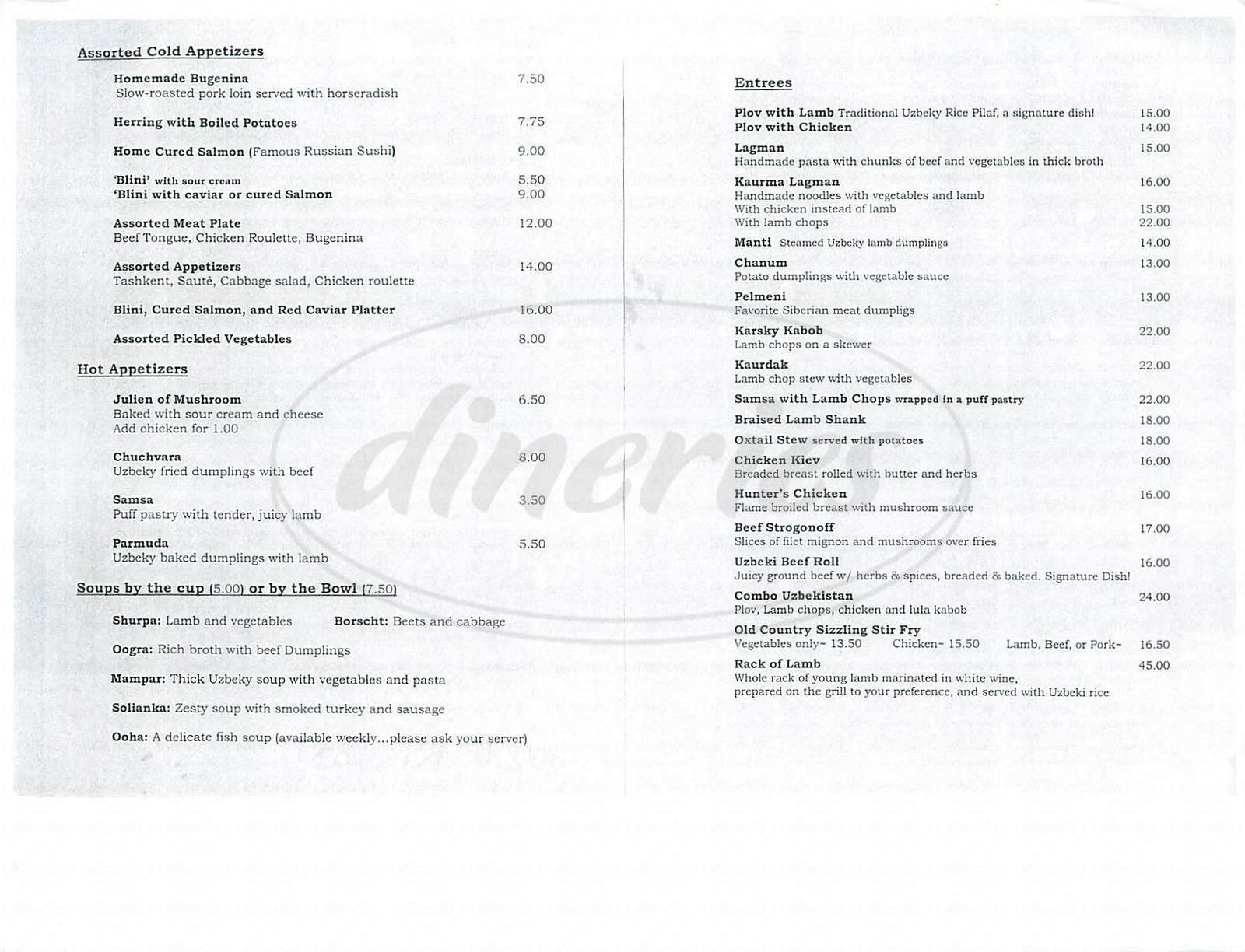 menu for Uzbekistan