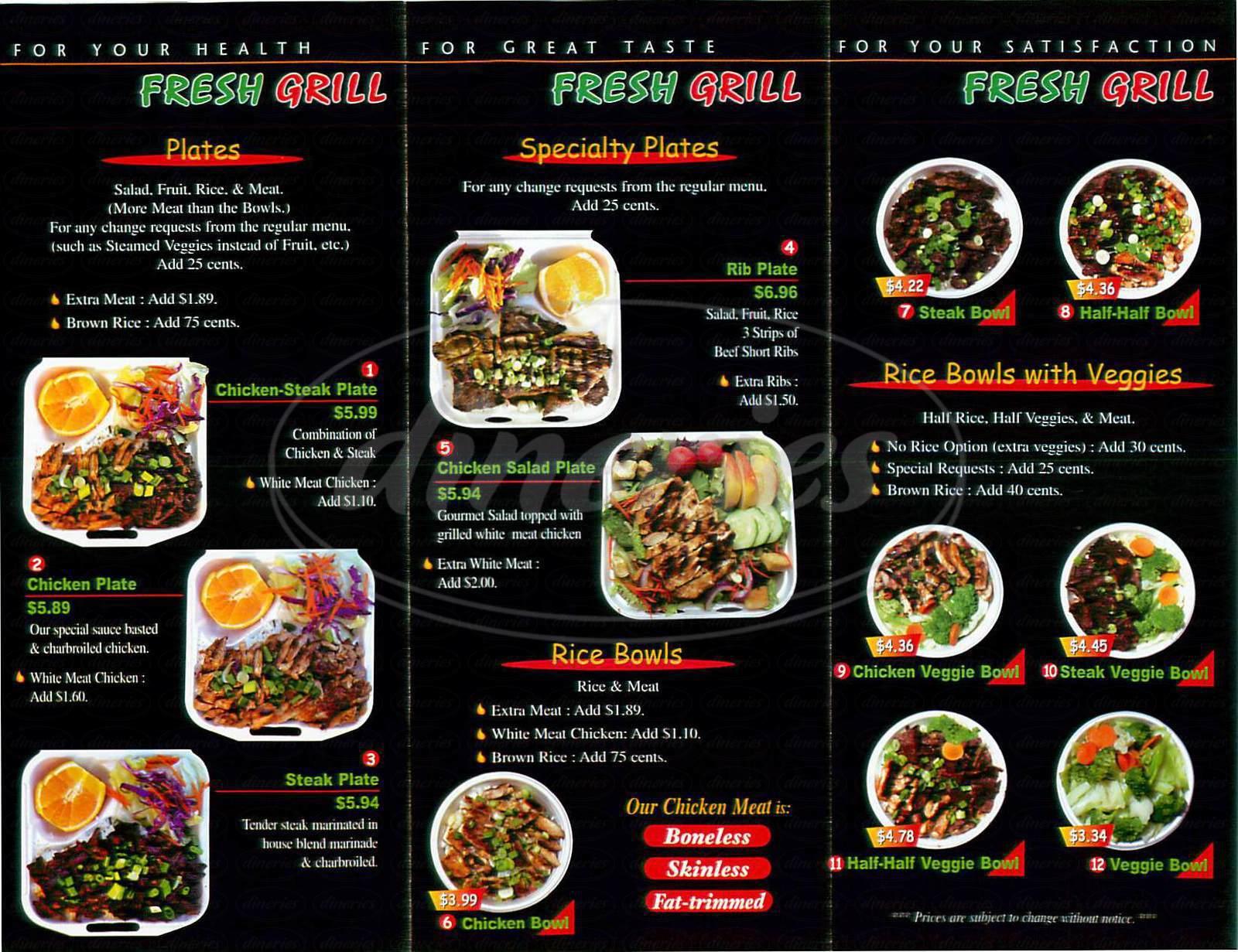 menu for Fresh Grill