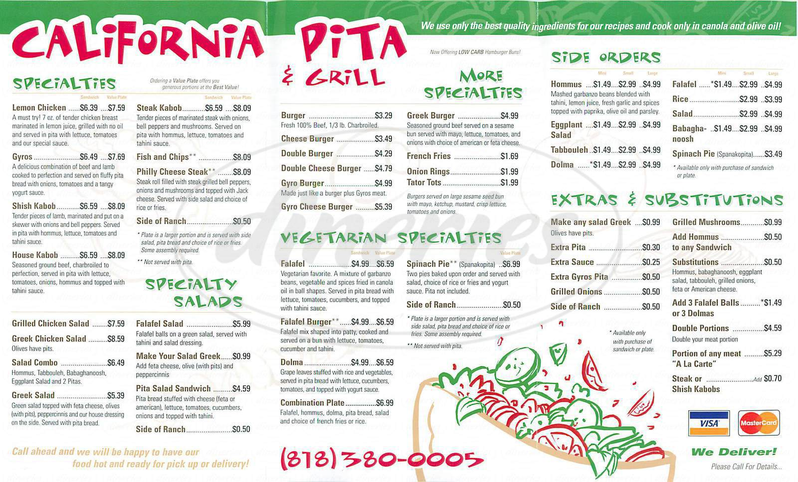 menu for California Pita & Grill