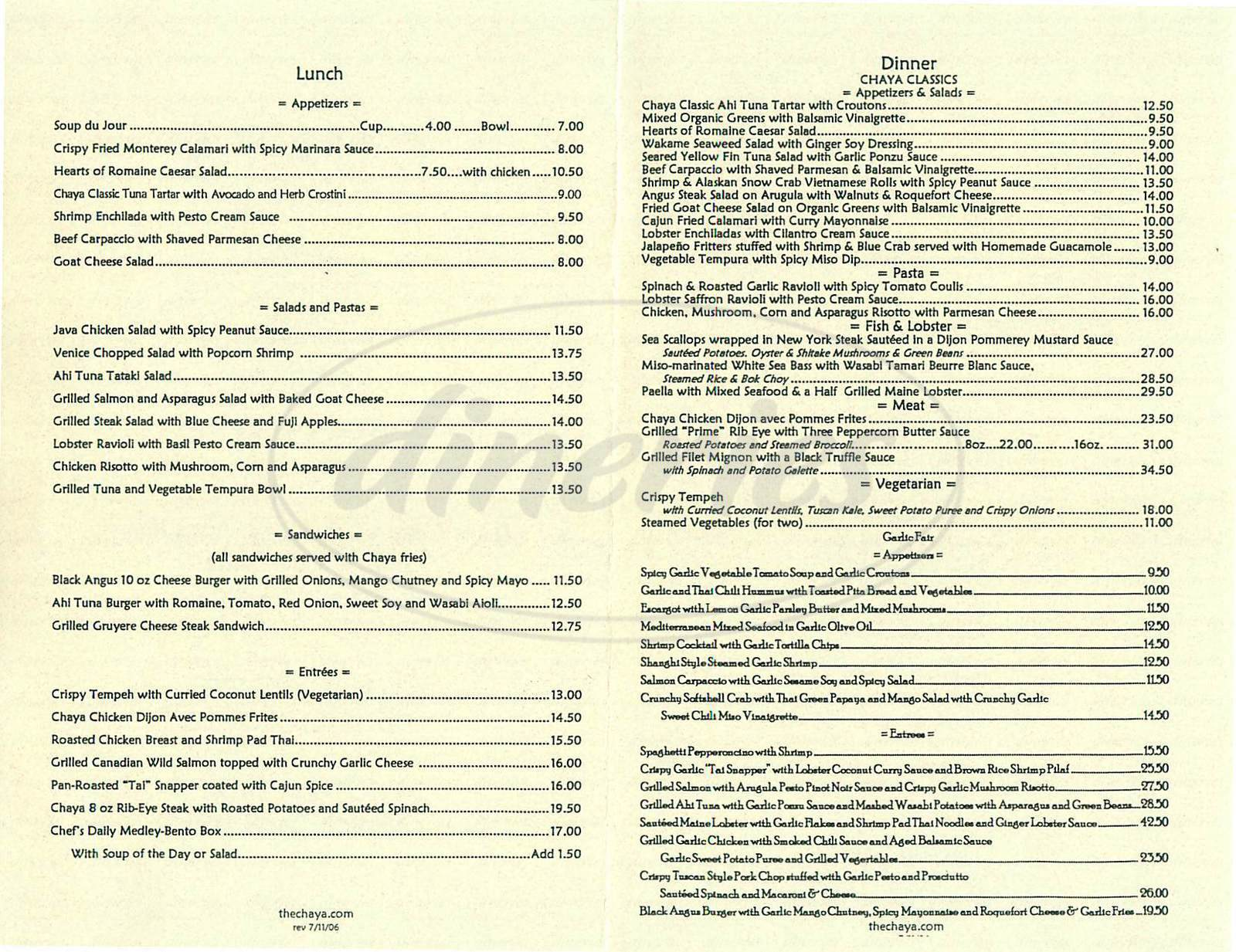 menu for Chaya Venice