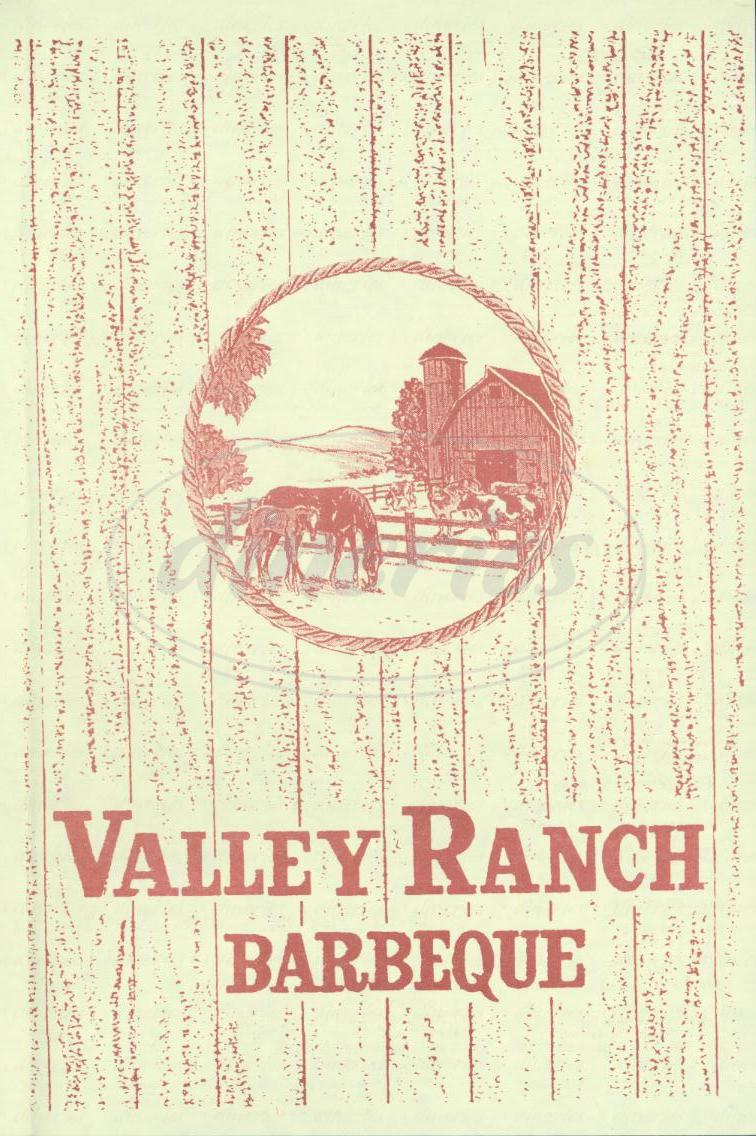 menu for Valley Ranch Barbeque