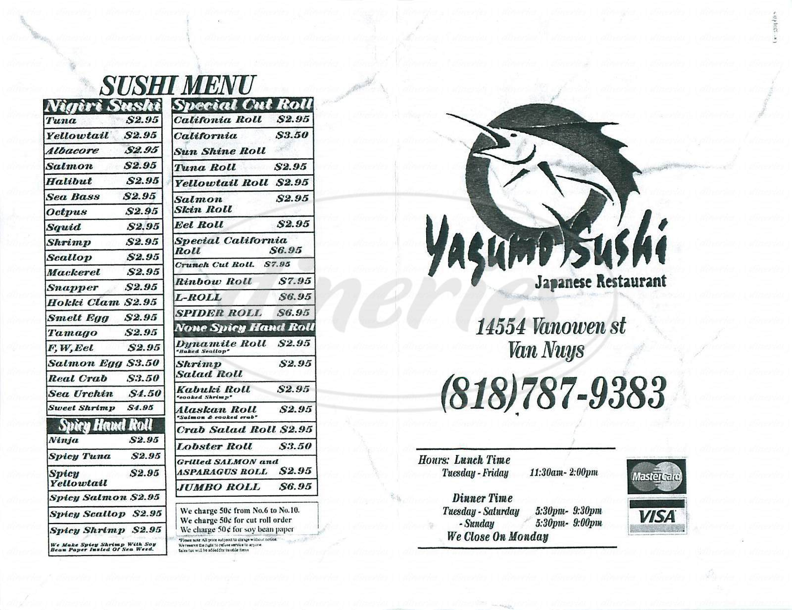 menu for Yagumo Sushi