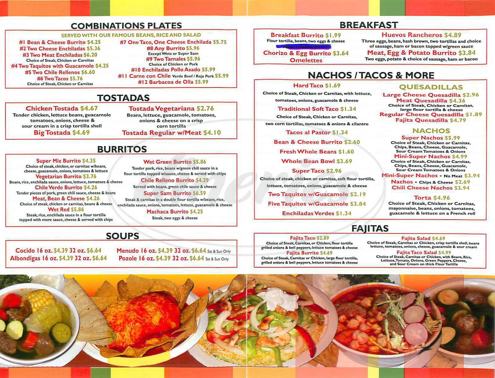 menu for Burrito Village