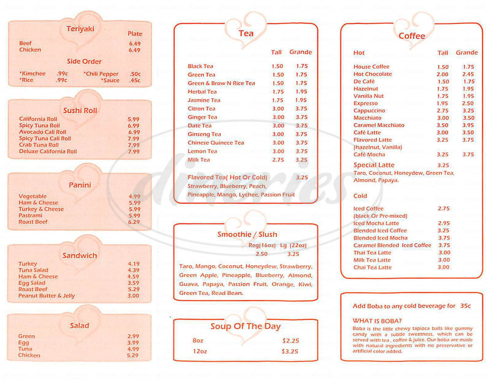 menu for Patricias Café