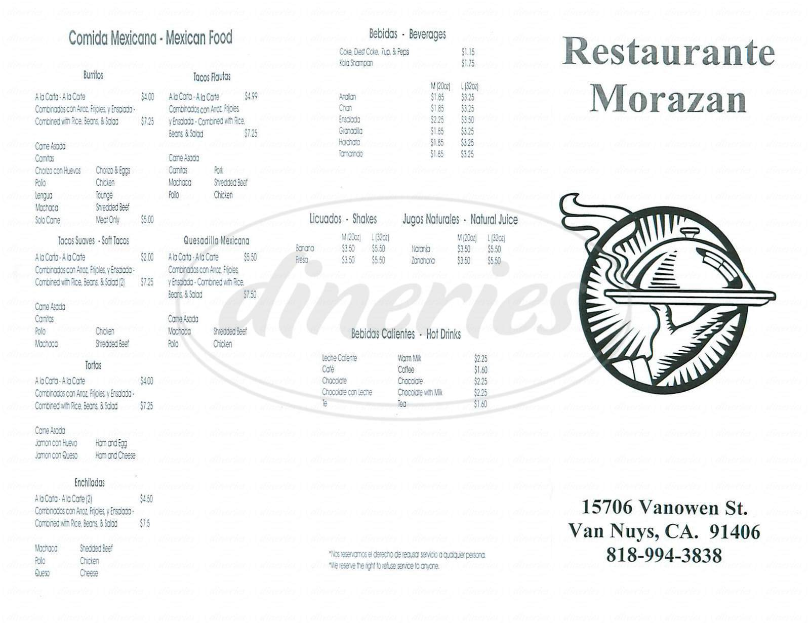menu for Restaurante Morazan