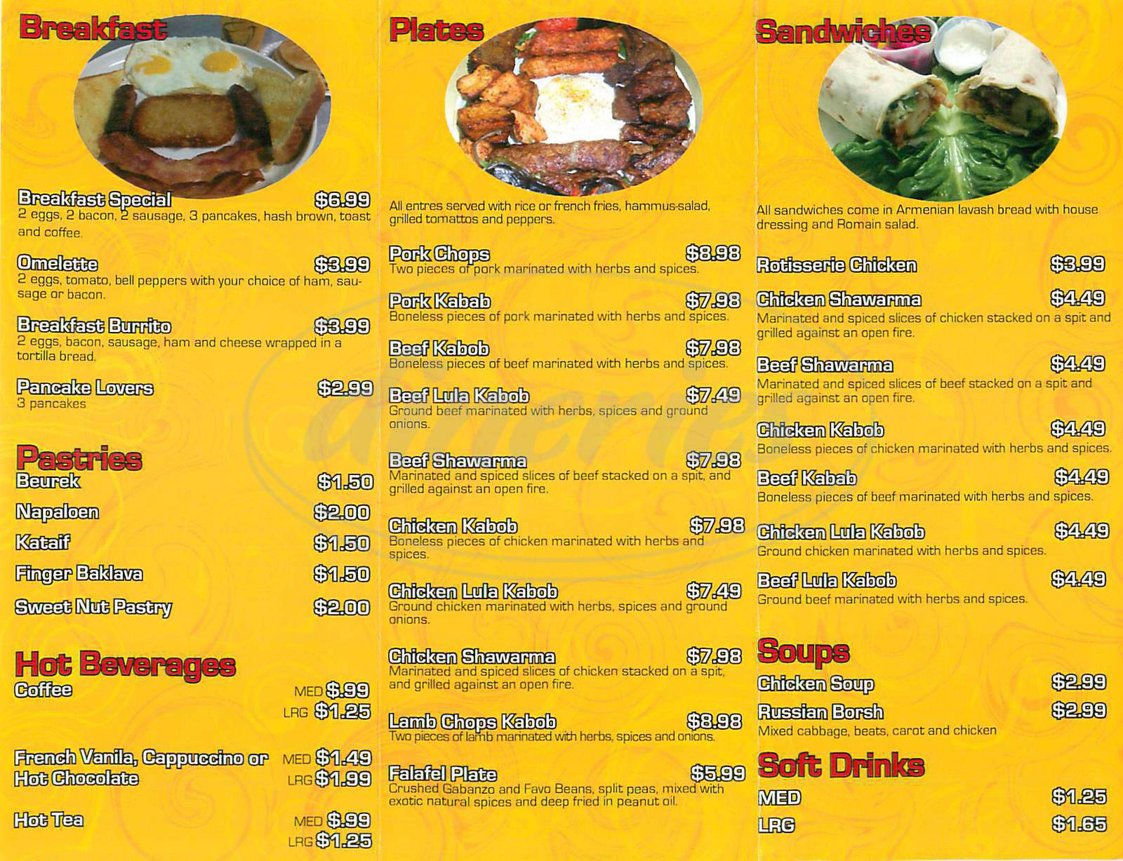 menu for Hot Flaming Grill