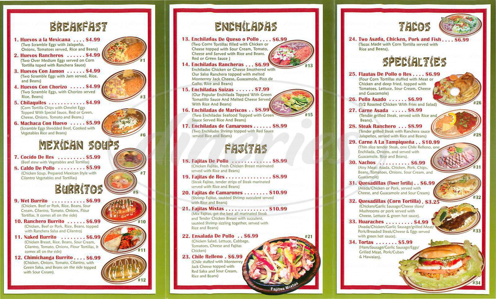 menu for Restaurante Garibaldi