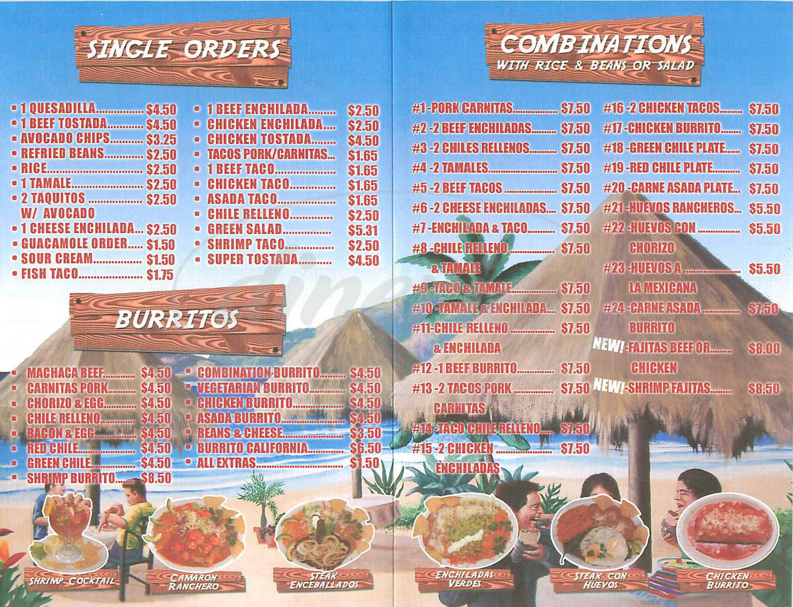 menu for Burritos California