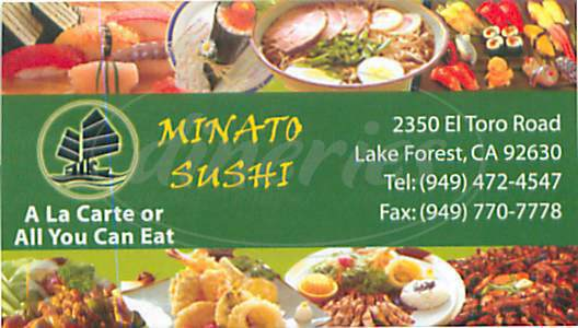 menu for Minato Sushi