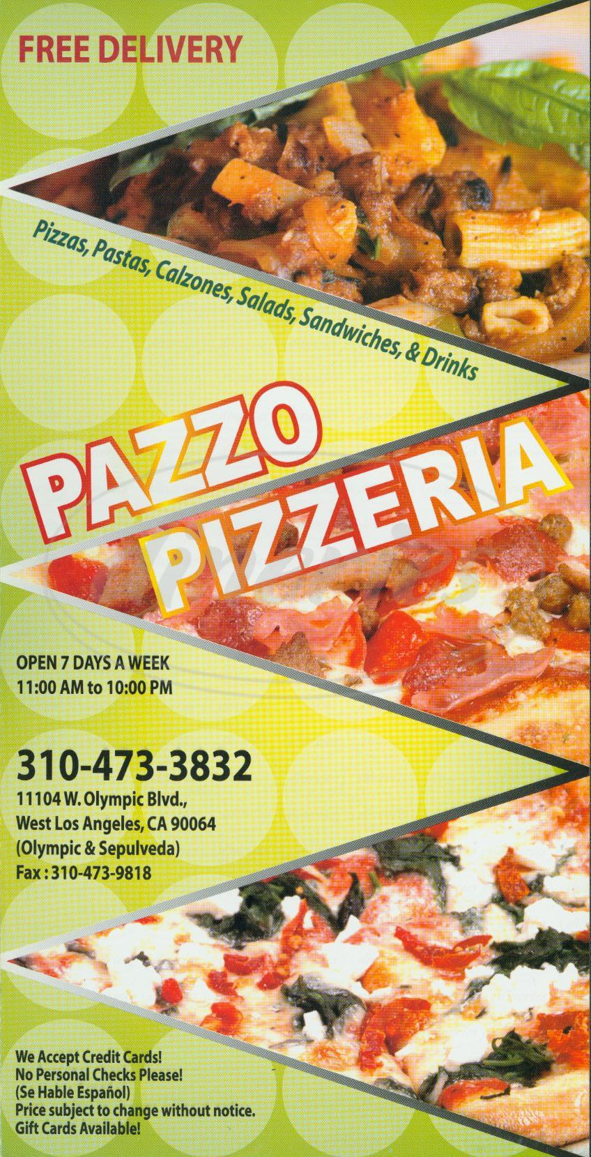 menu for Pazzo Pizzeria