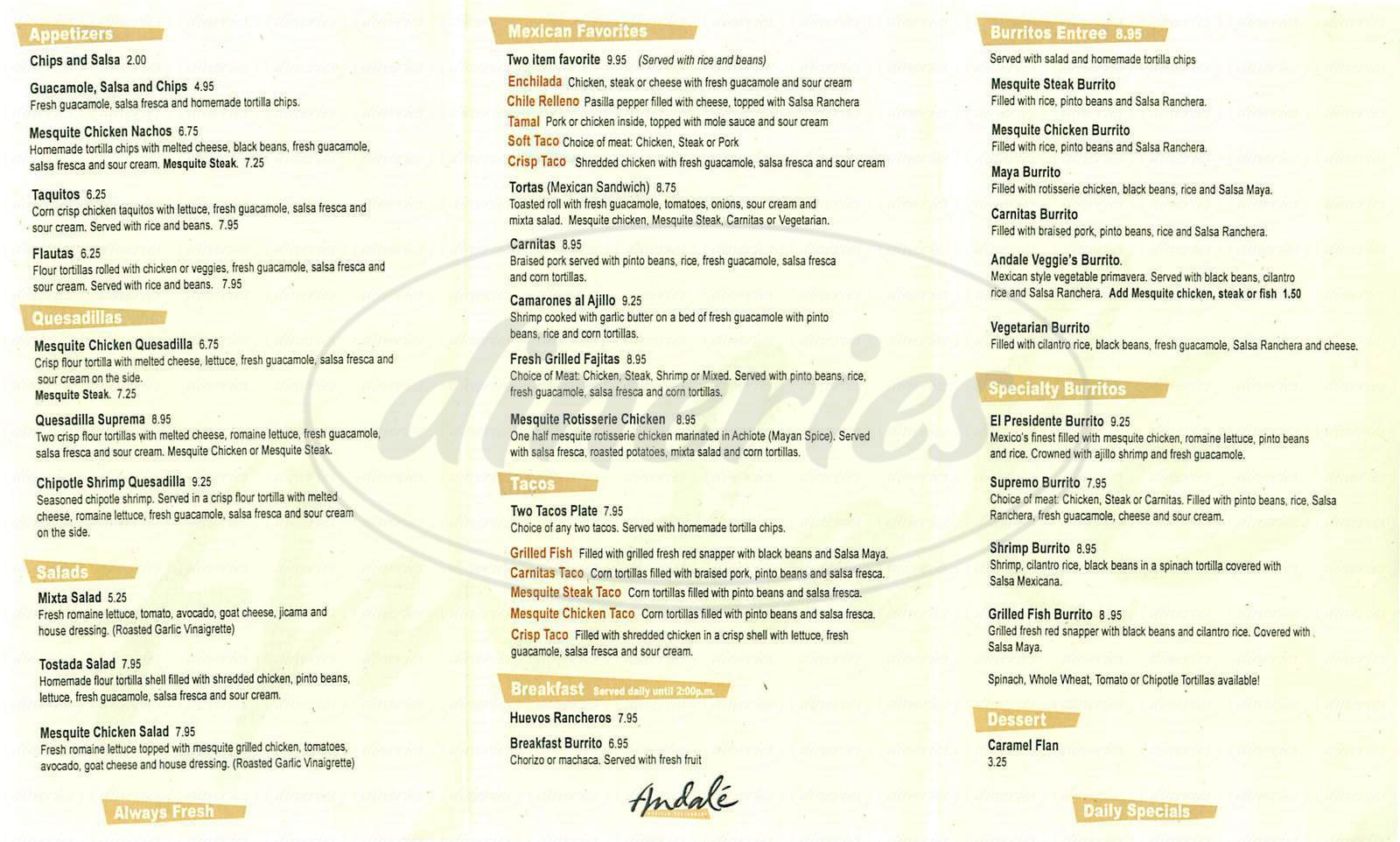 menu for Andale Taqueria