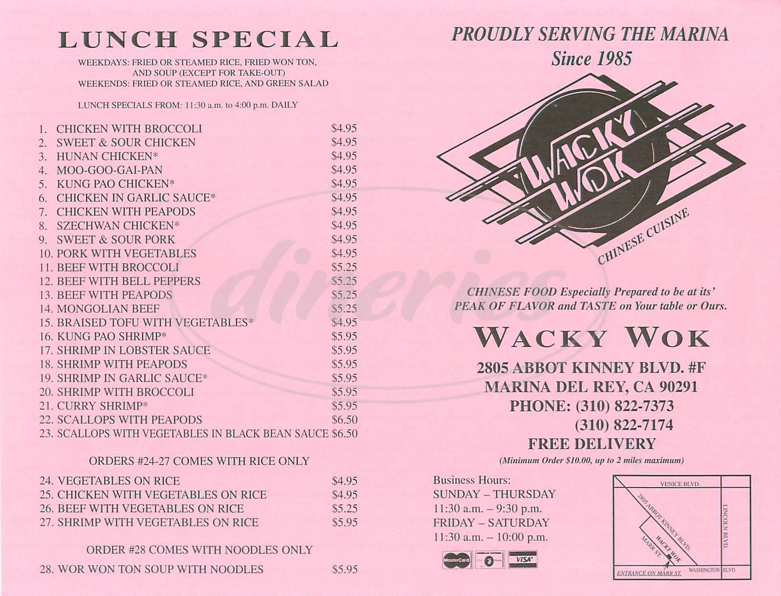 menu for Wacky Wok