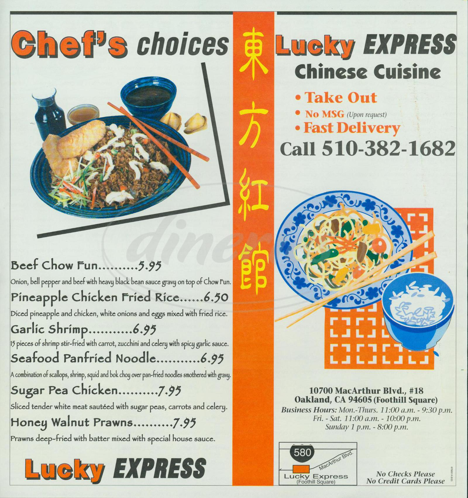 menu for Lucky Express