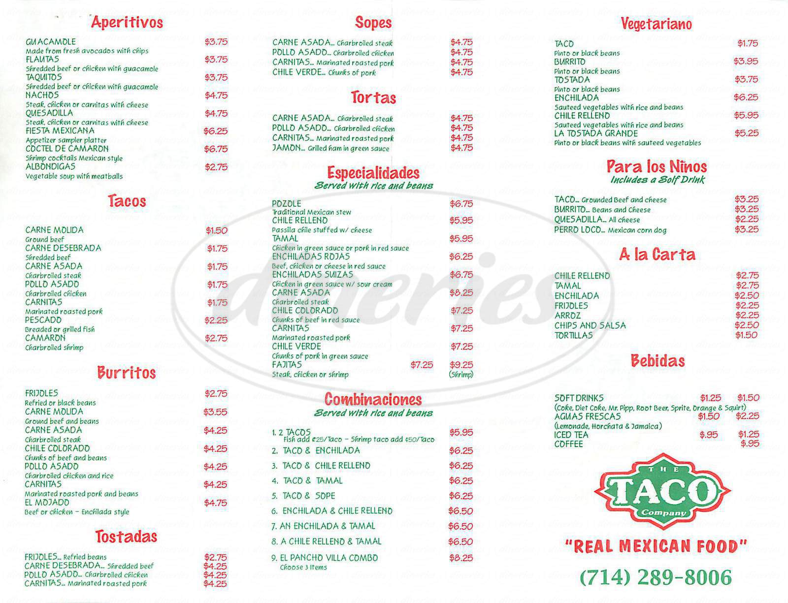 menu for The Taco Company