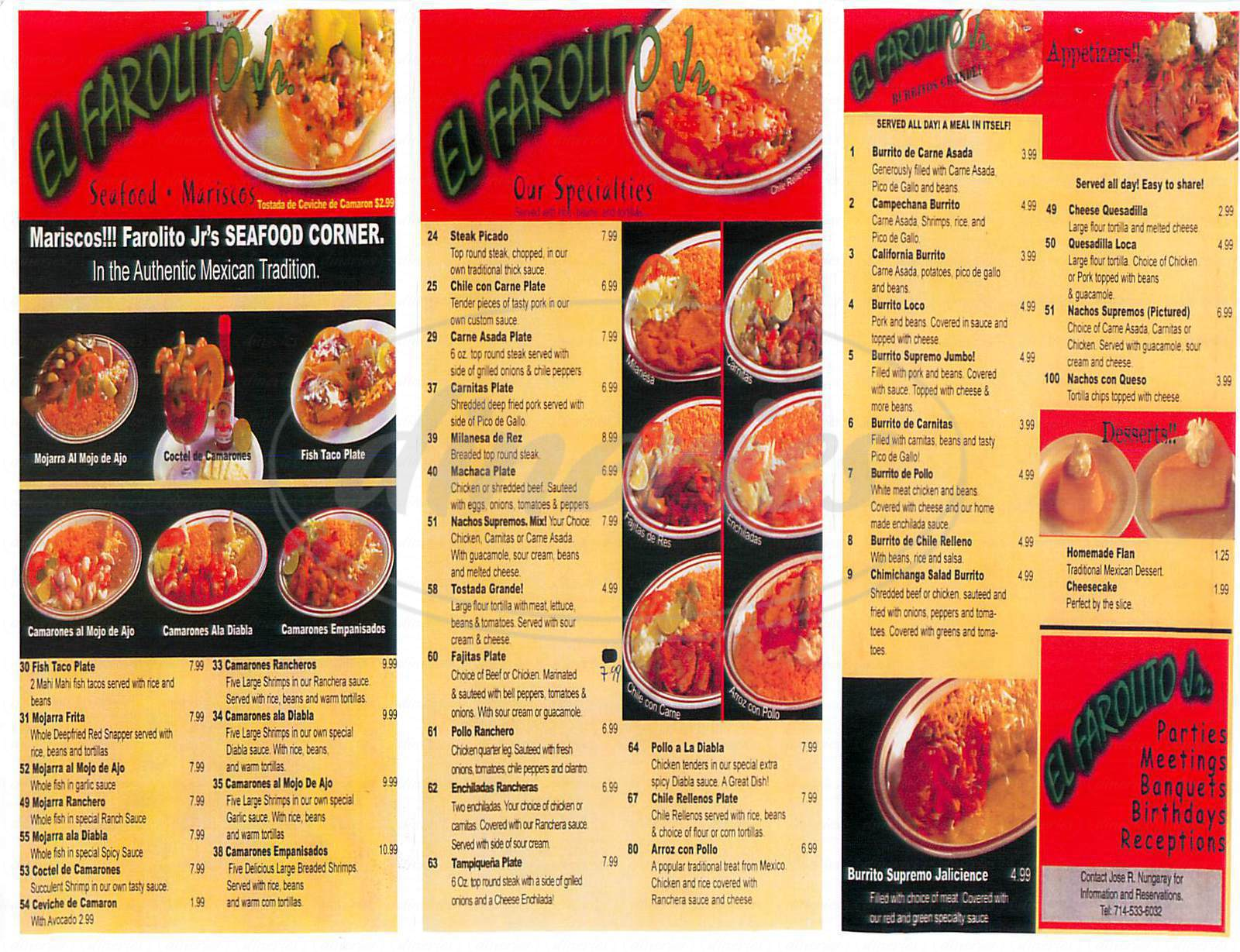 menu for El Farolito Jr