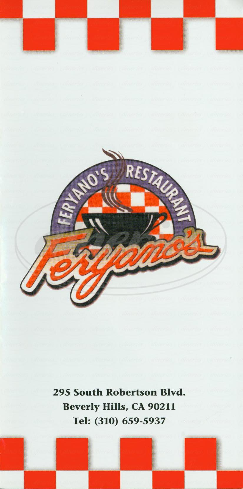 menu for Feryano's Restaurant