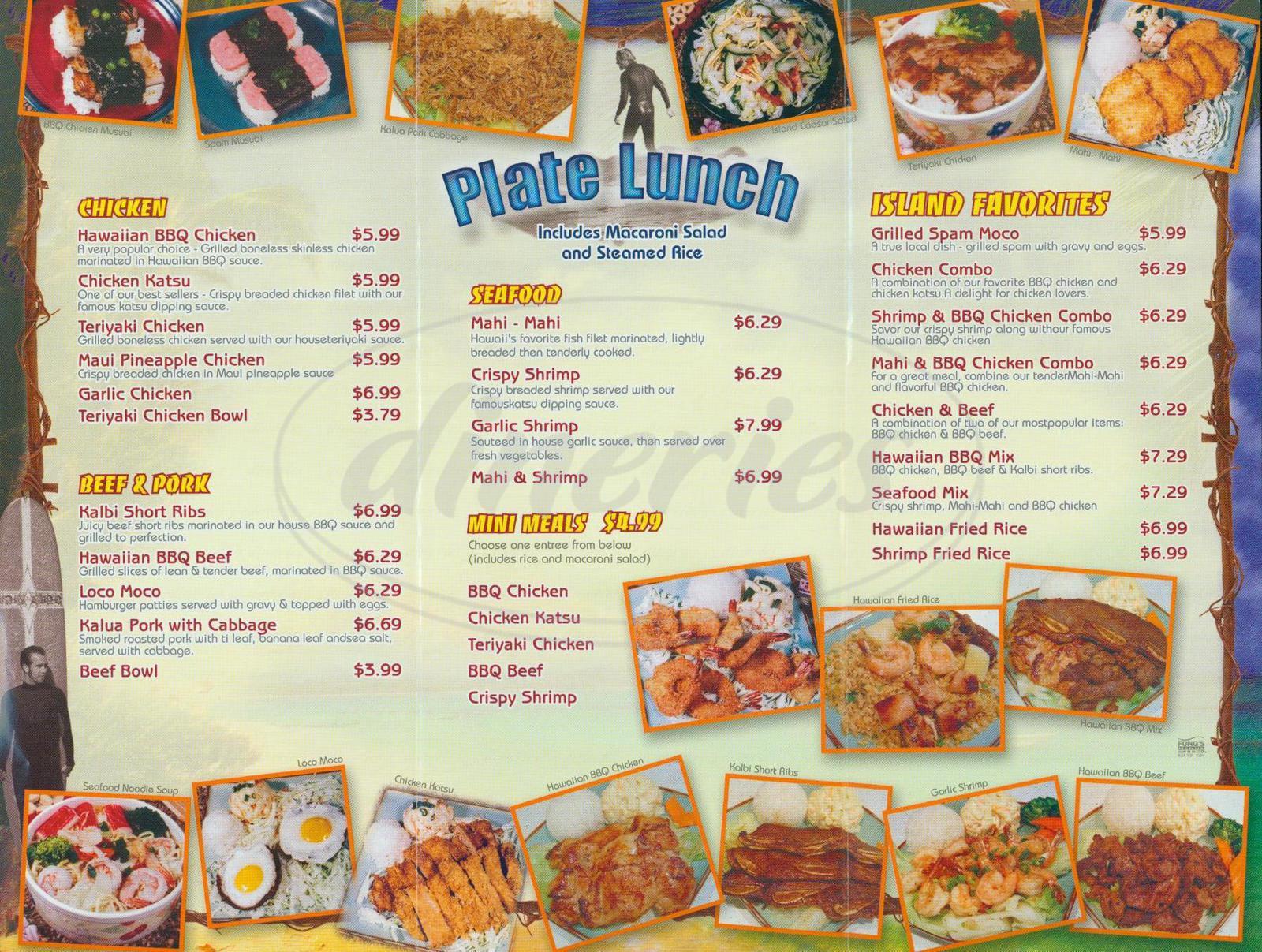 menu for Waikiki Hawaiian Grill