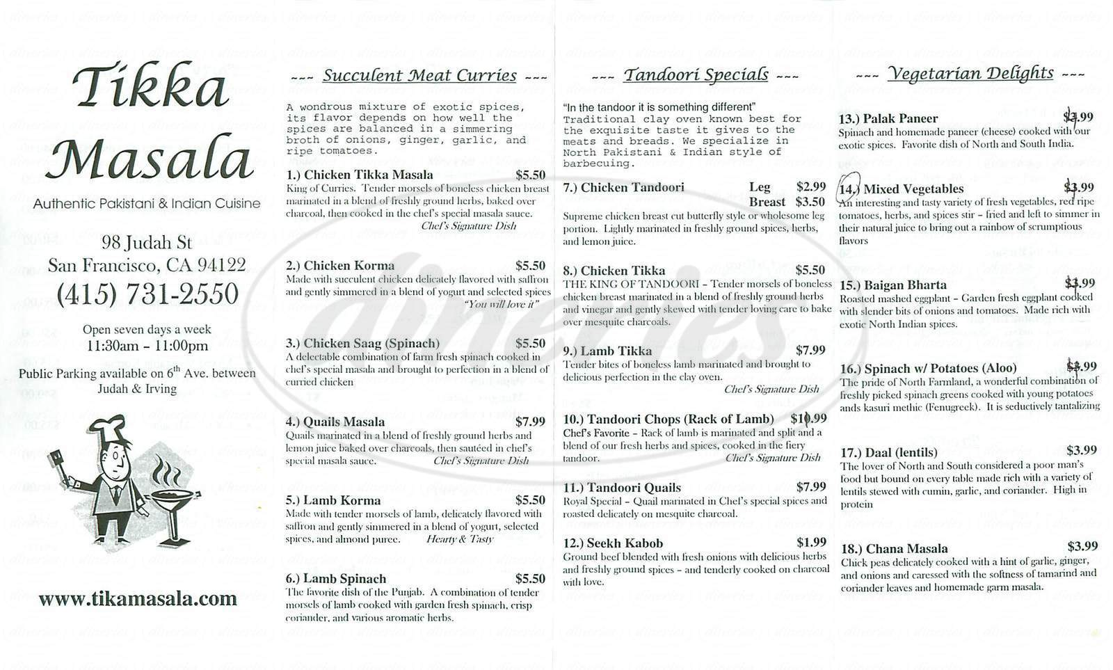 menu for Tikka Masala