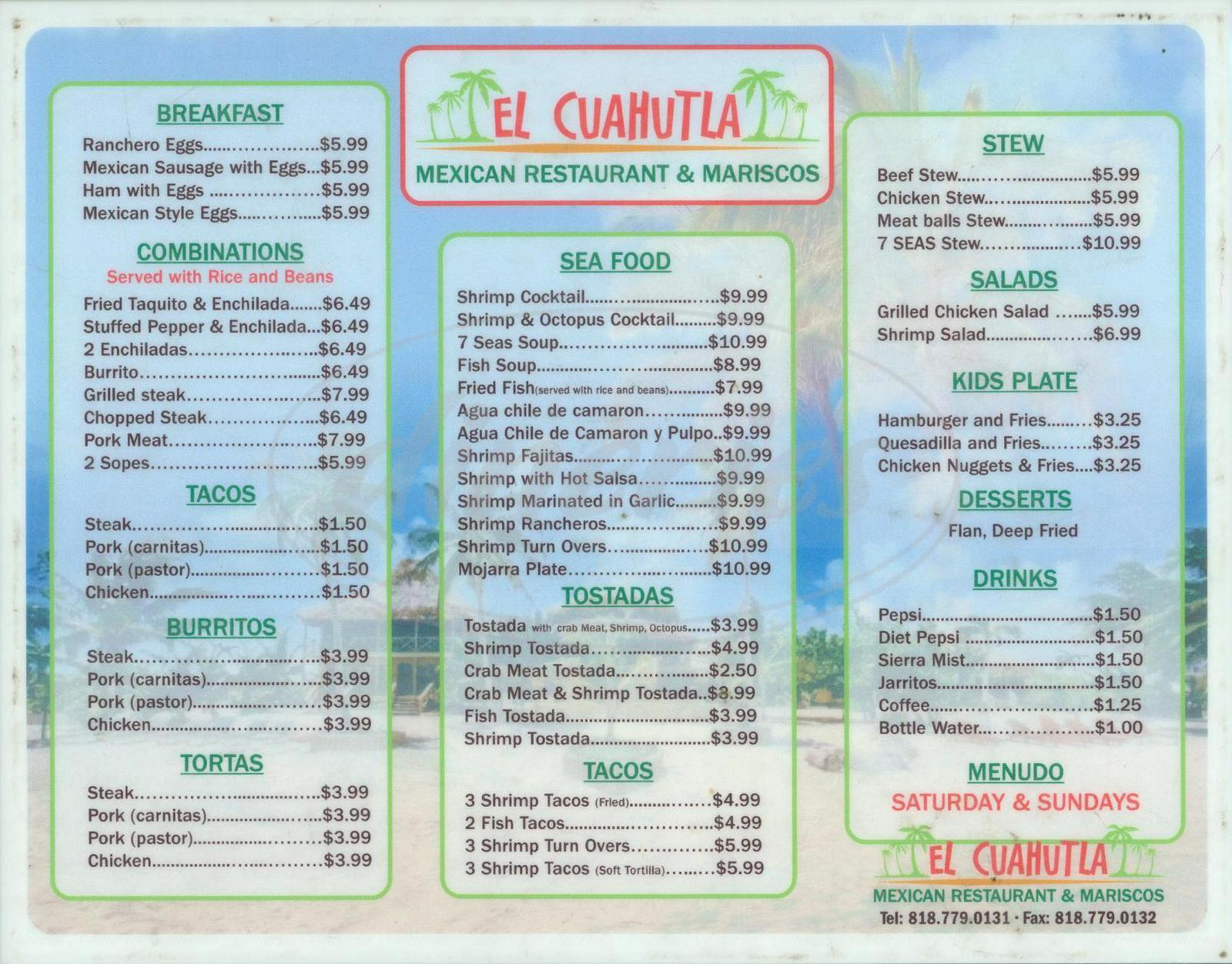 menu for El Cuahutla