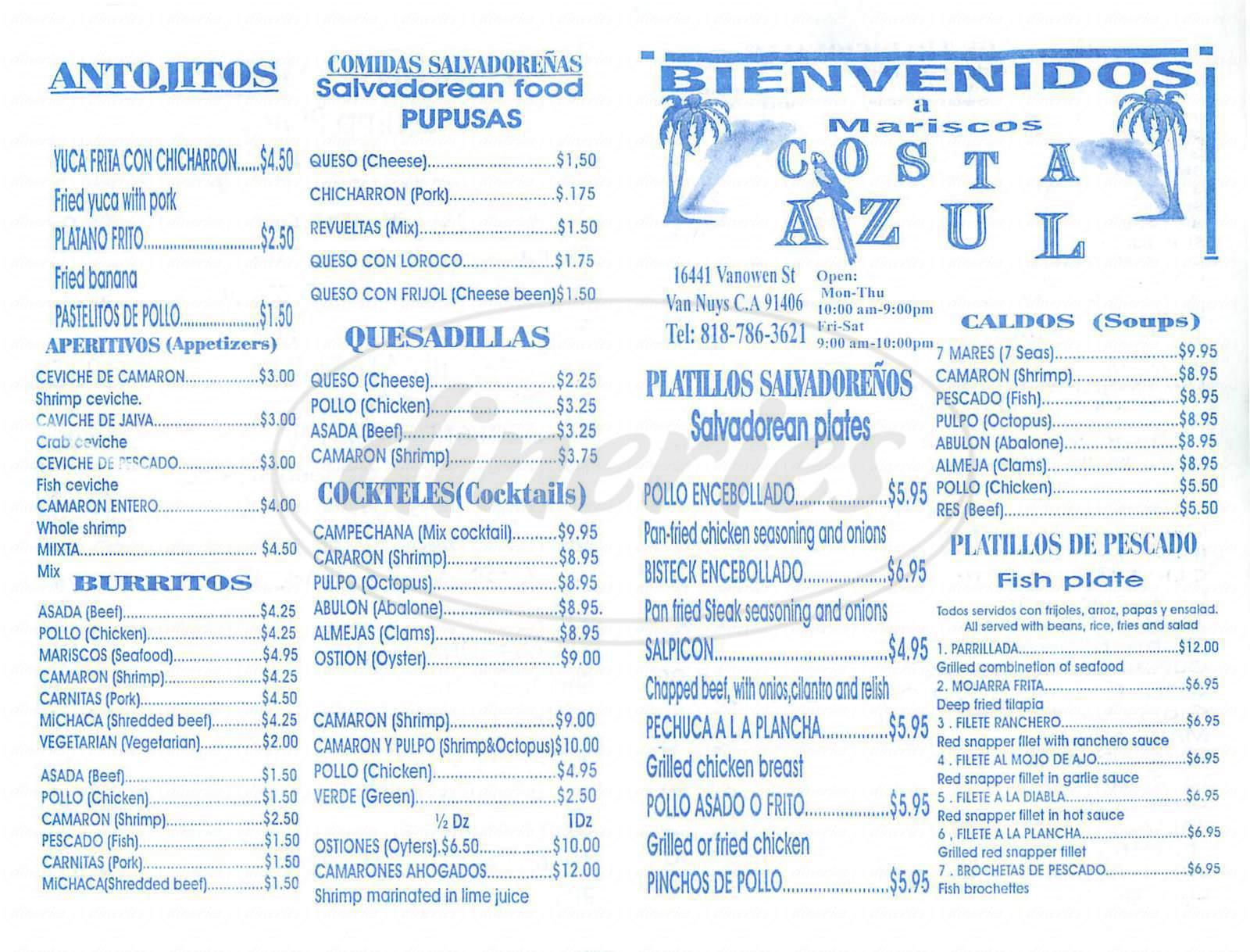 menu for Costa Azul Restaurant