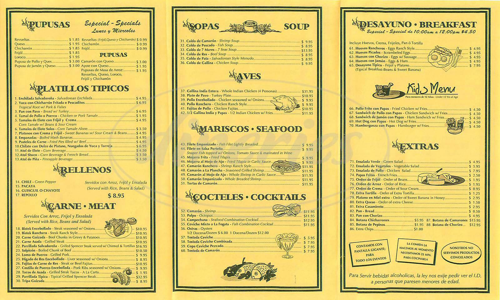 menu for La Nueva Fogata