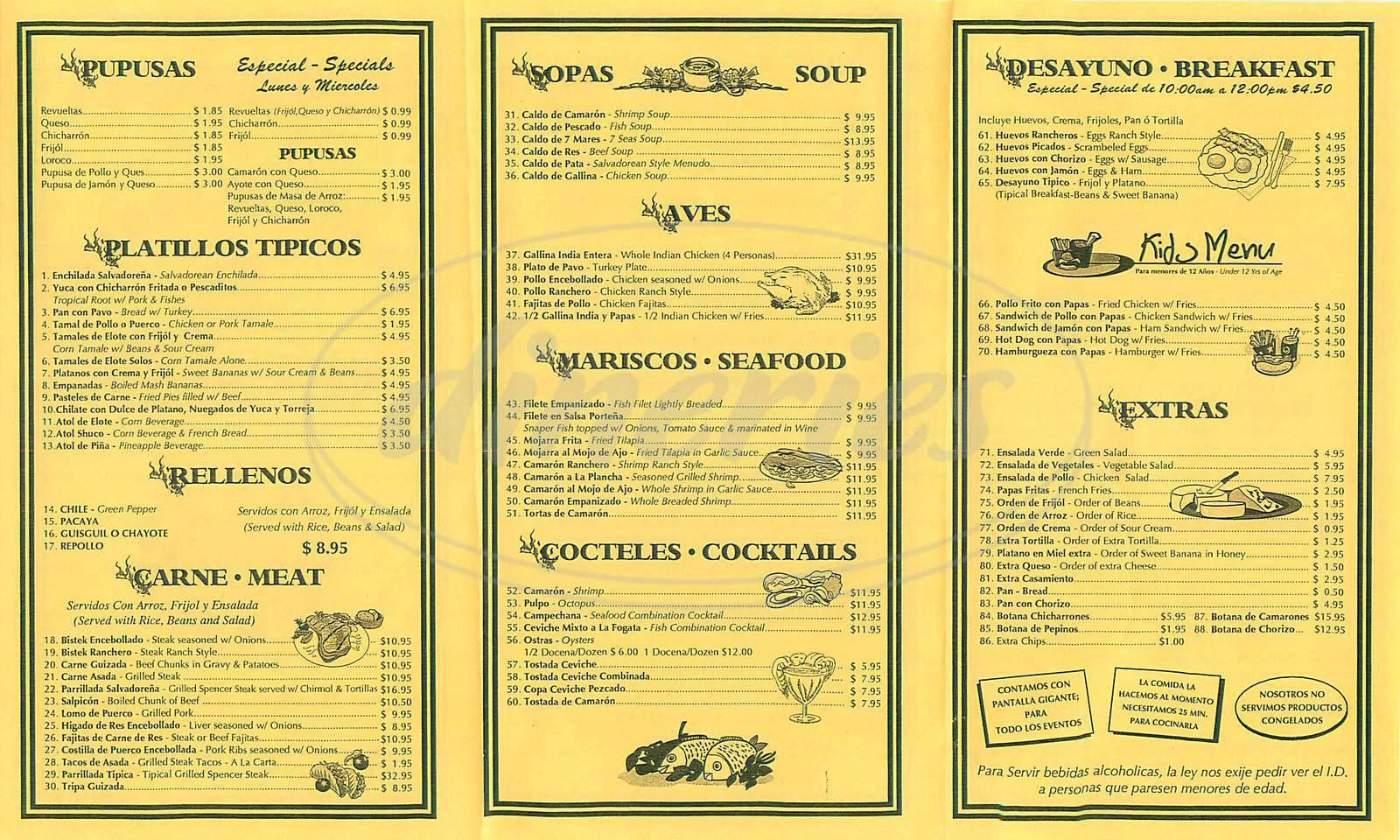 menu for La Nueva Fogata