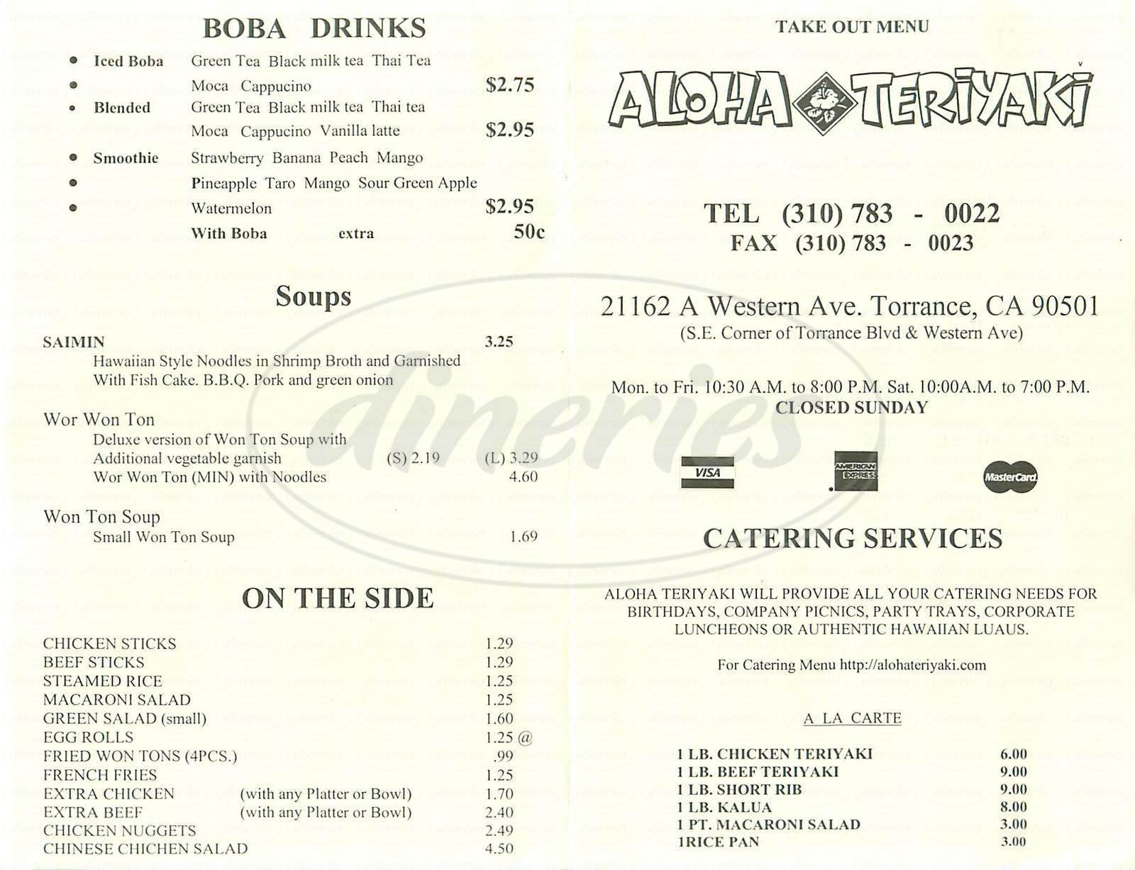 menu for Aloha Teriyaki