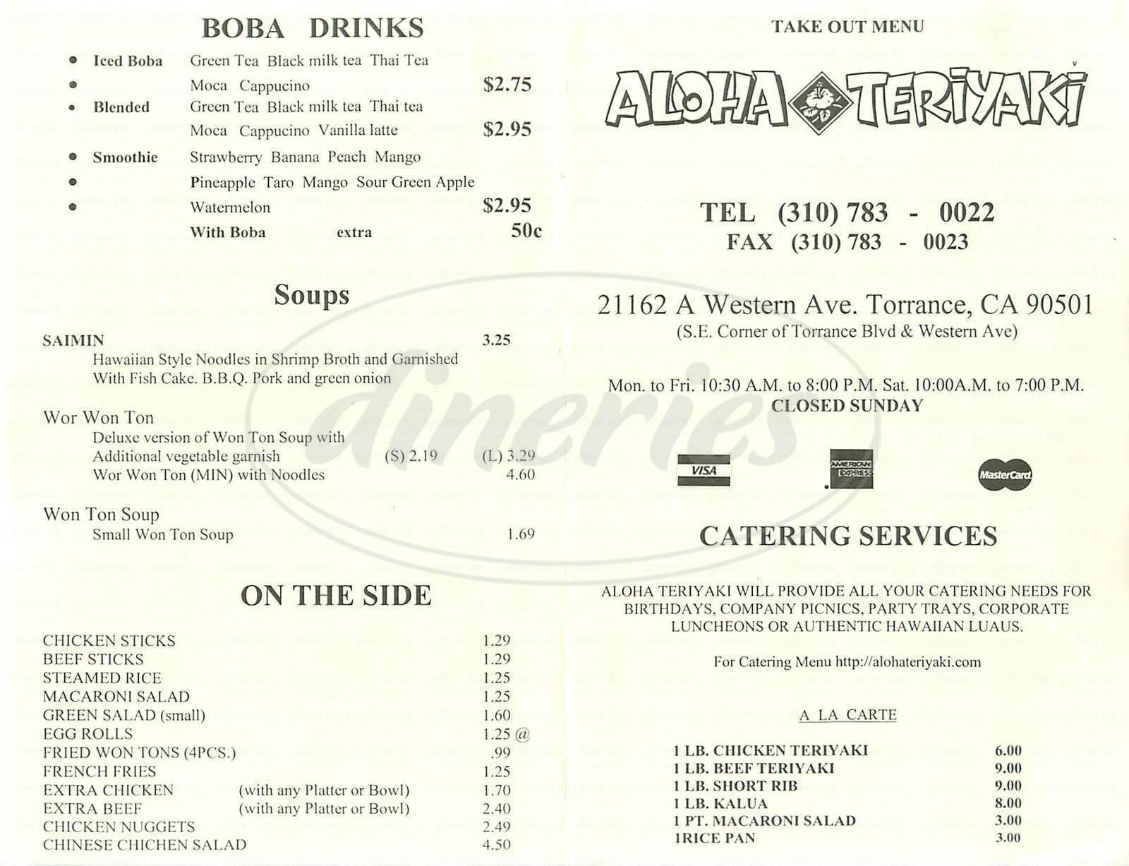 menu for Aloha Teriyaki