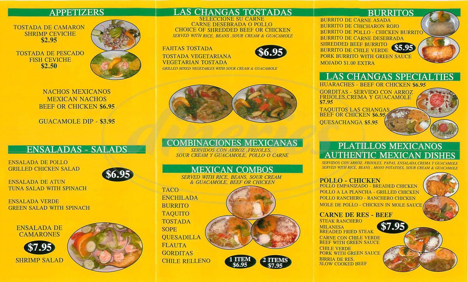 menu for Las Changa's