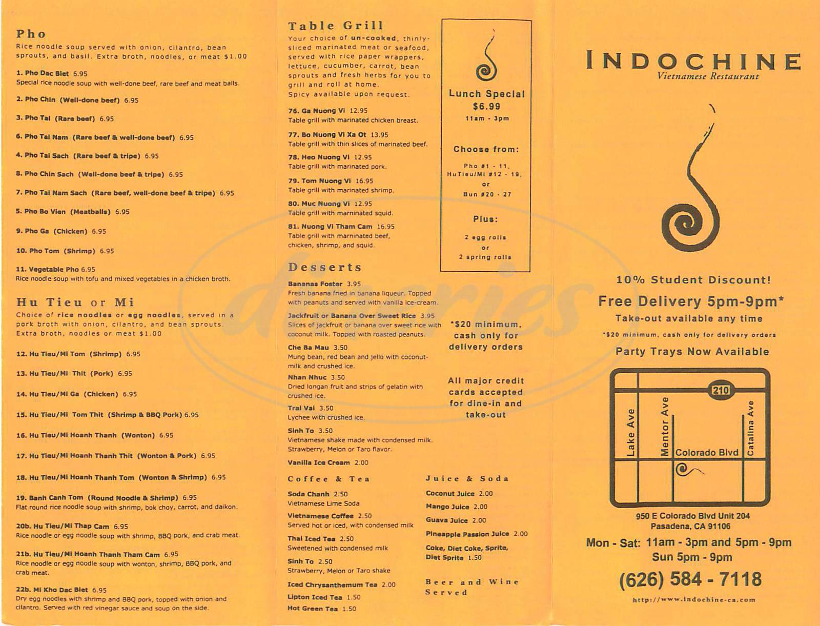 menu for Indochine