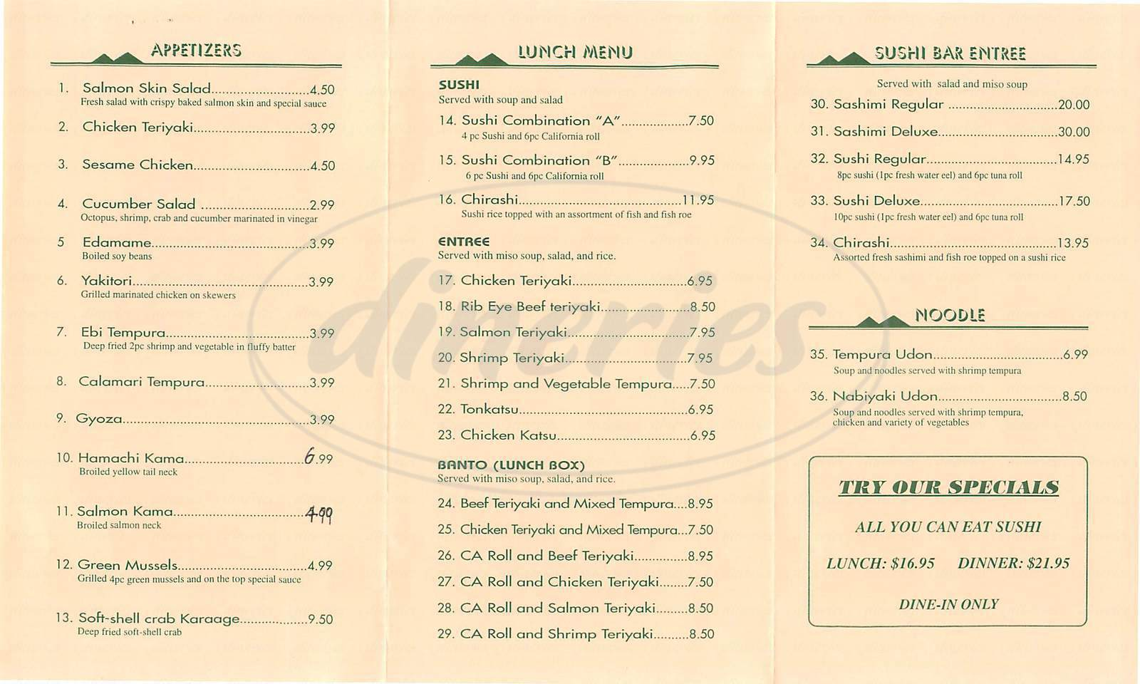 menu for You & I Sushi