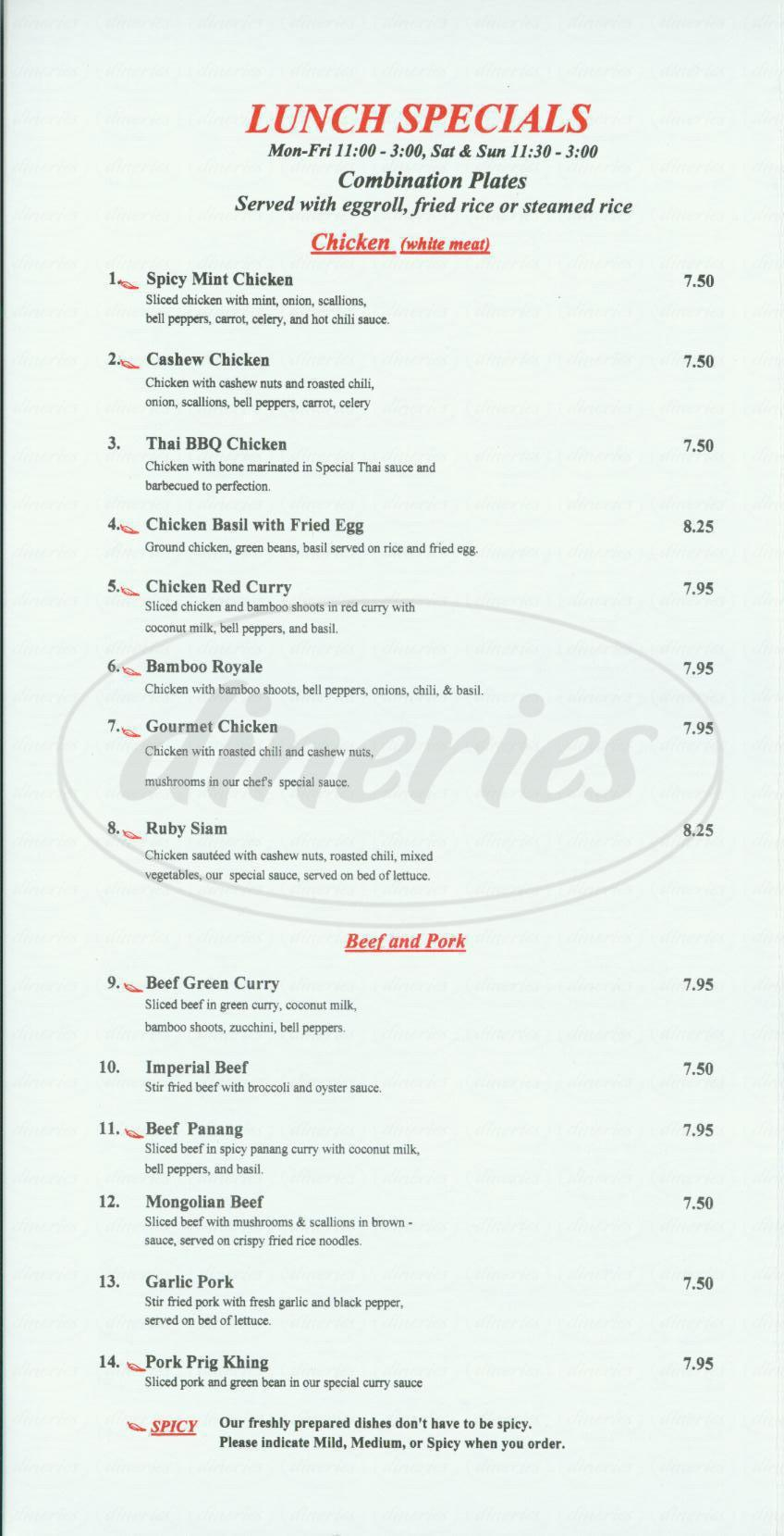 thai kitchen menu - irvine - dineries
