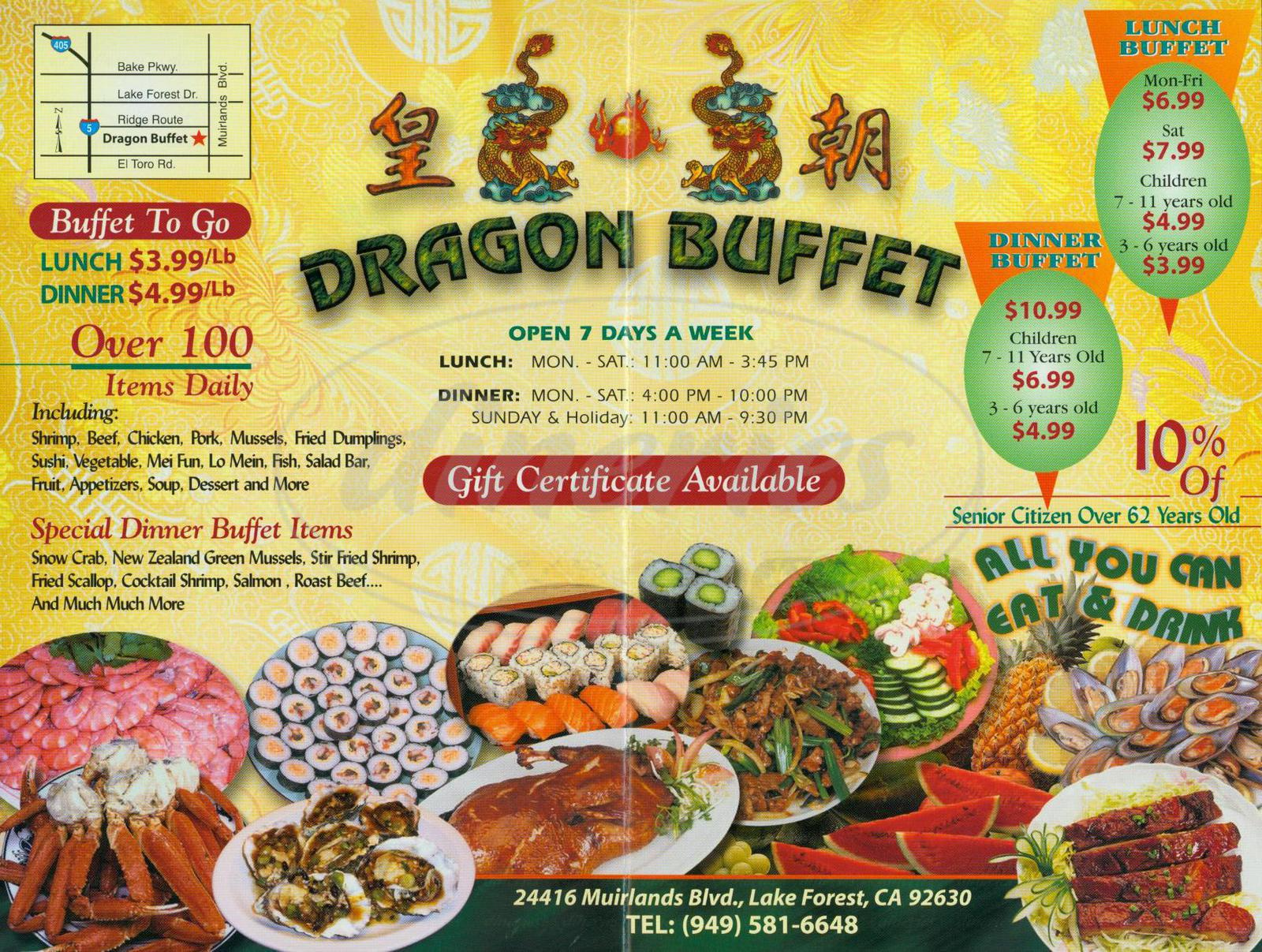 menu for Dragon Buffet