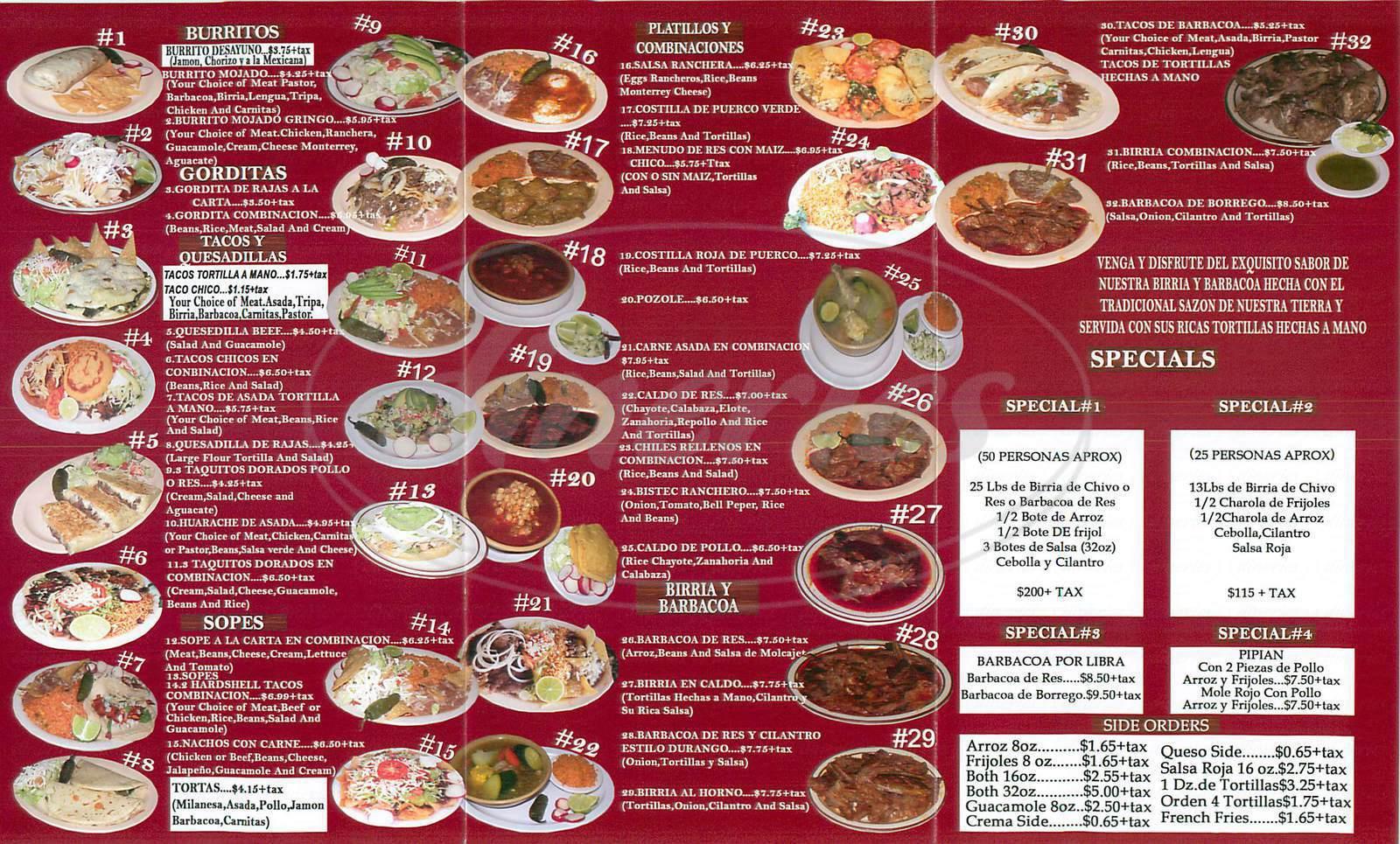 menu for Birrieria Mexico