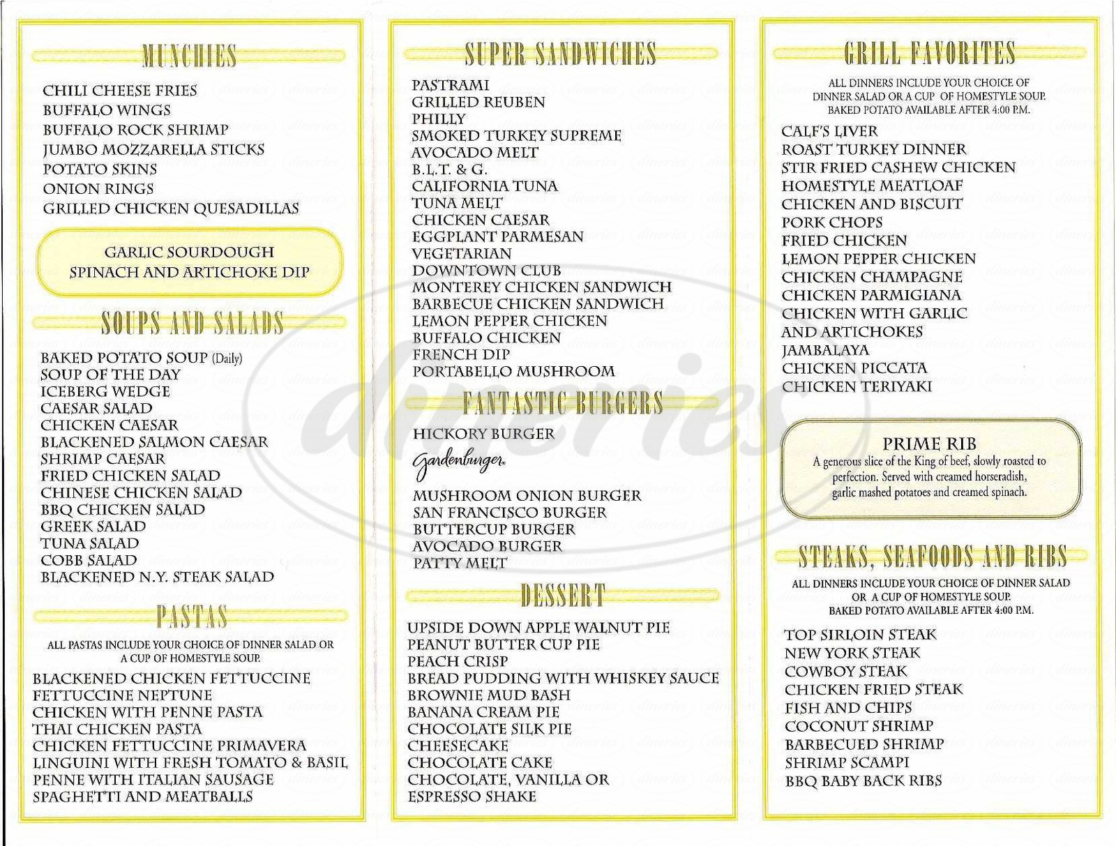 menu for Buttercup Grill & Bar