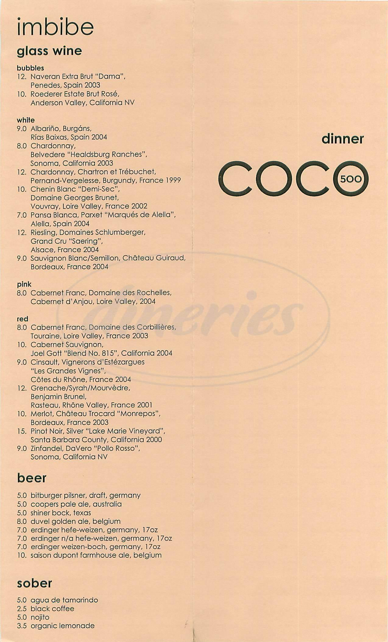 menu for Coco500