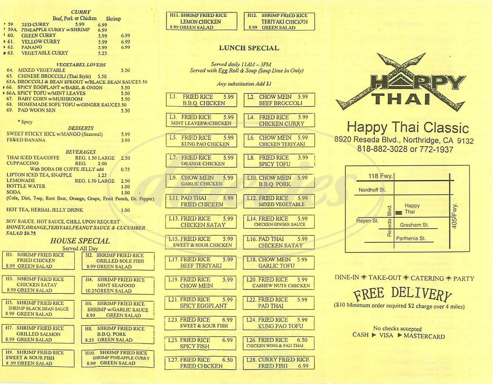 menu for Happy Thai Classic