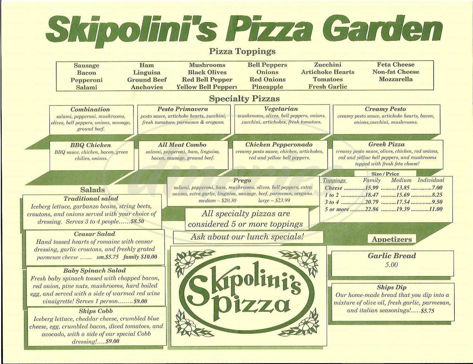 menu for Skipolinis Pizza