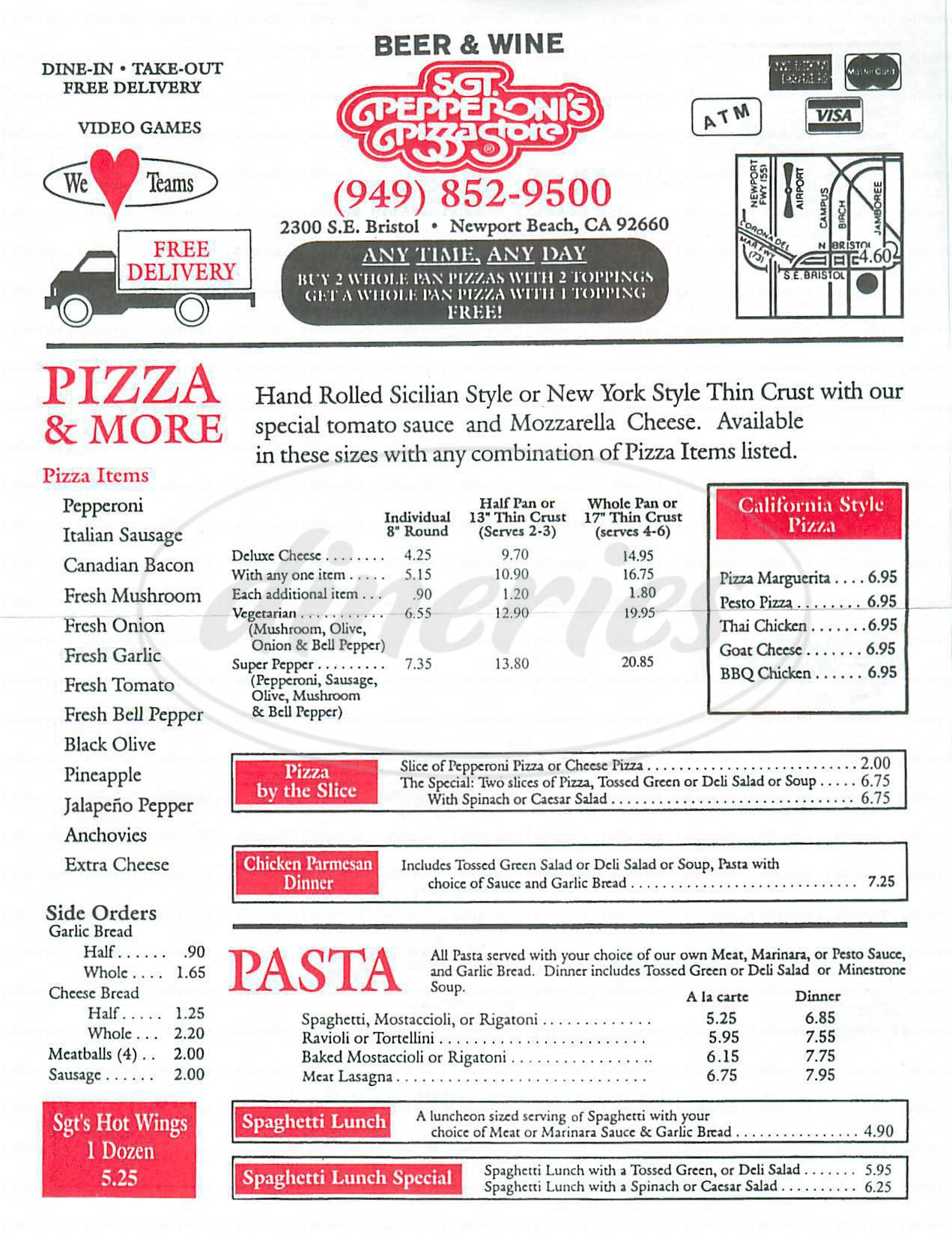 menu for Sgt Pepperonis Pizza Store
