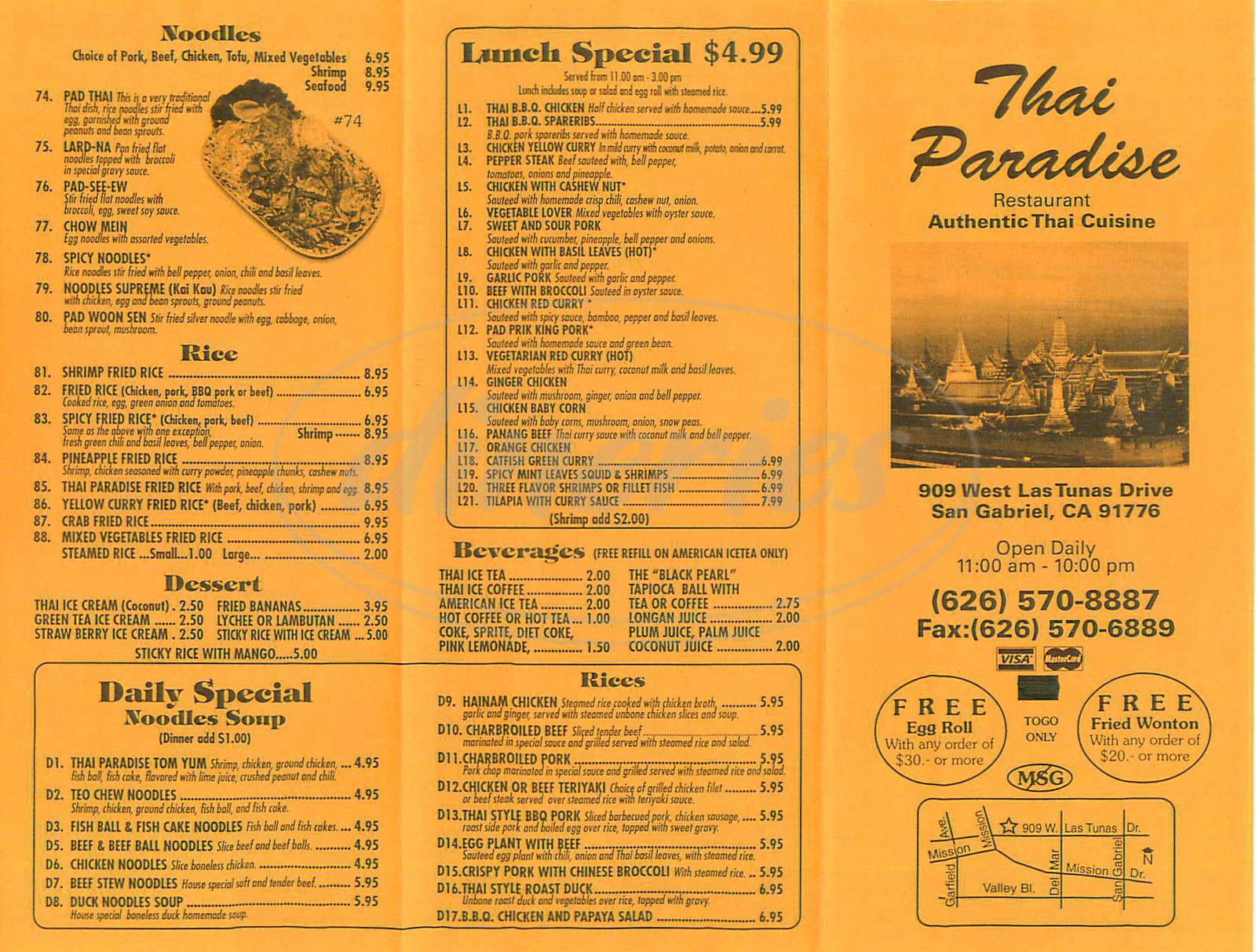 menu for Thai Paradise
