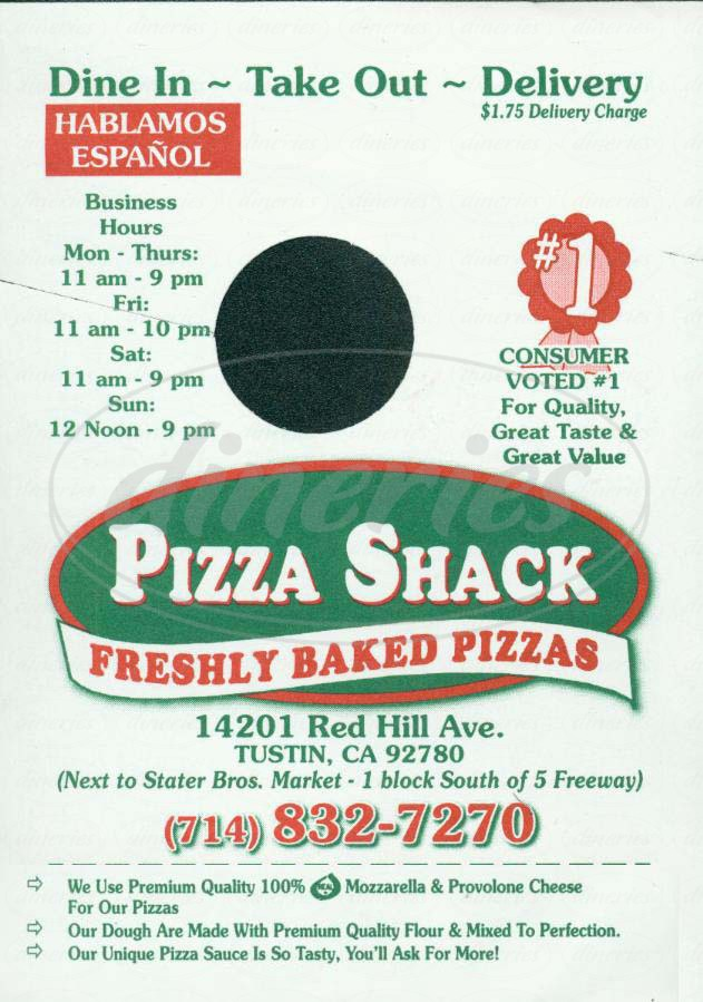 Big menu for Pizza Shack, Tustin